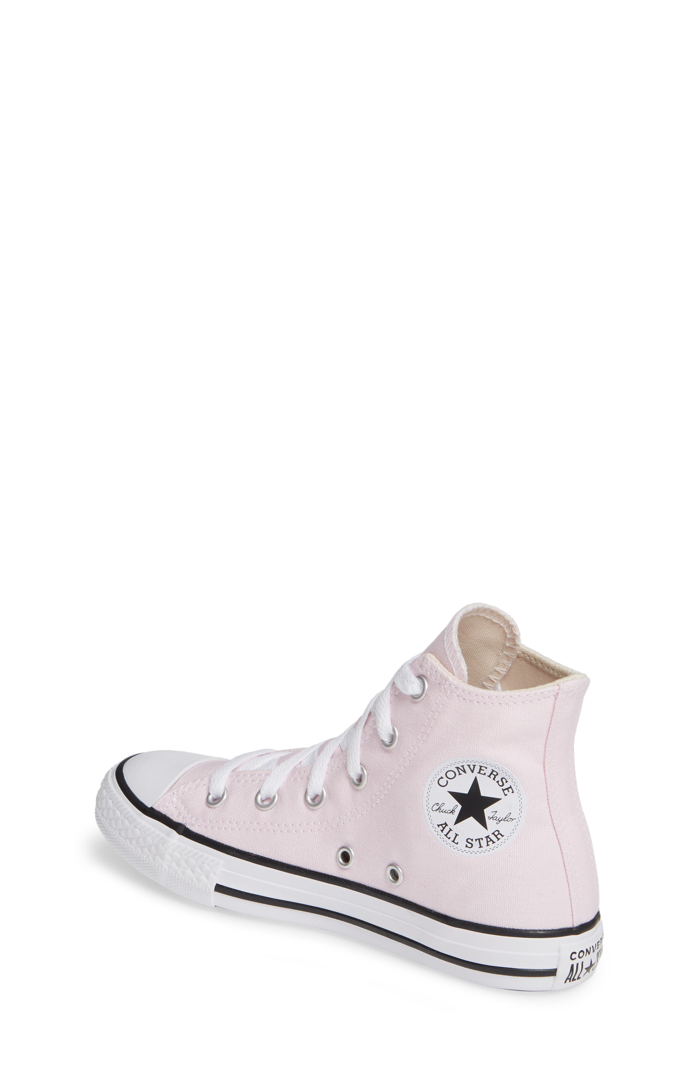 CONVERSE, Chuck Taylor<sup>®</sup> High Top Sneaker, Alternate thumbnail 2, color, PINK FOAM/ IVORY/ WHITE