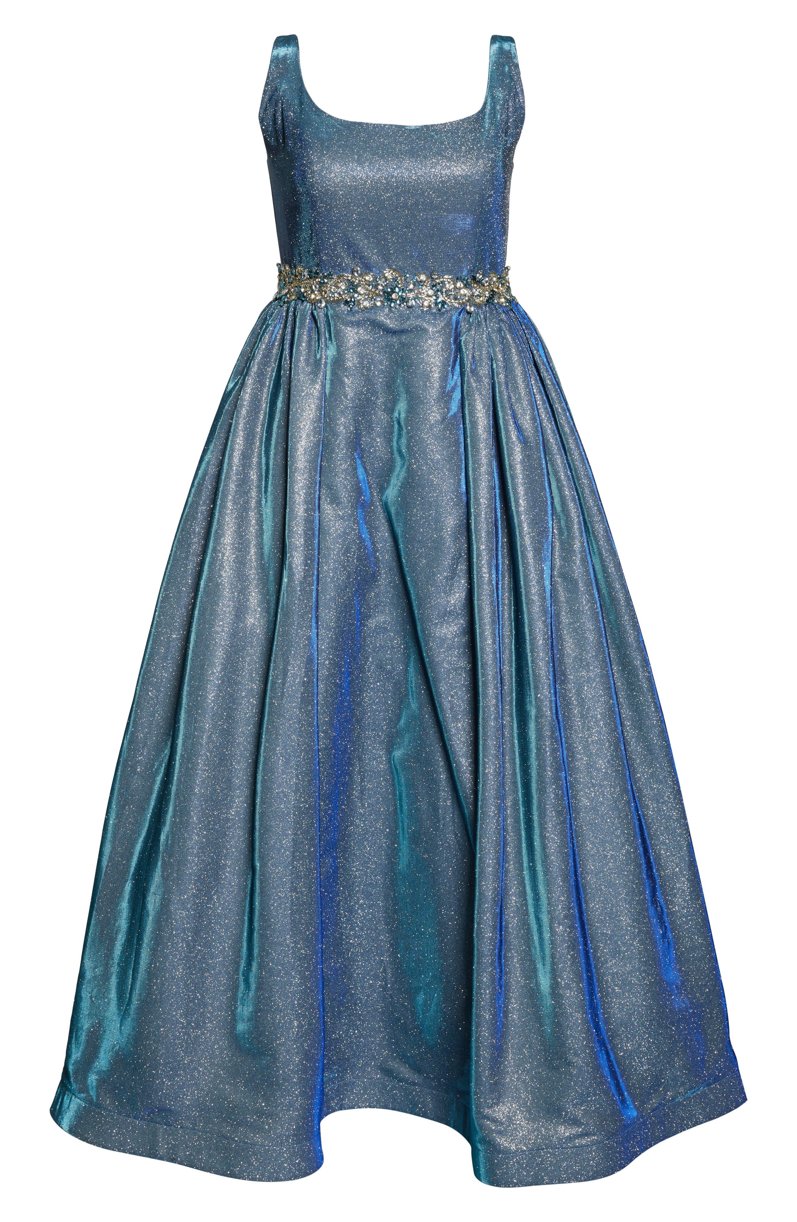 MAC DUGGAL, Jeweled Waist Metallic Evening Dress, Alternate thumbnail 7, color, BLUE