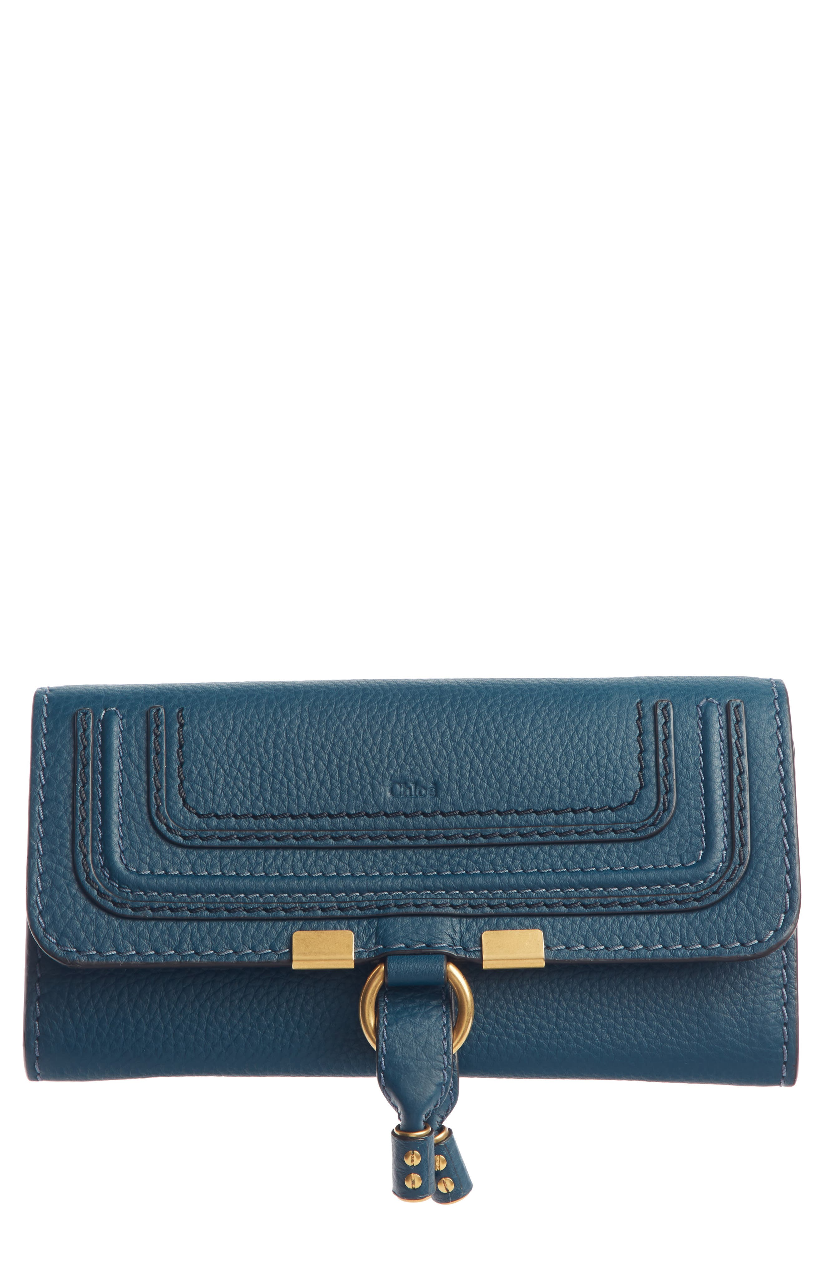 CHLOÉ, Marcie - Long Leather Flap Wallet, Main thumbnail 1, color, NAVY INK