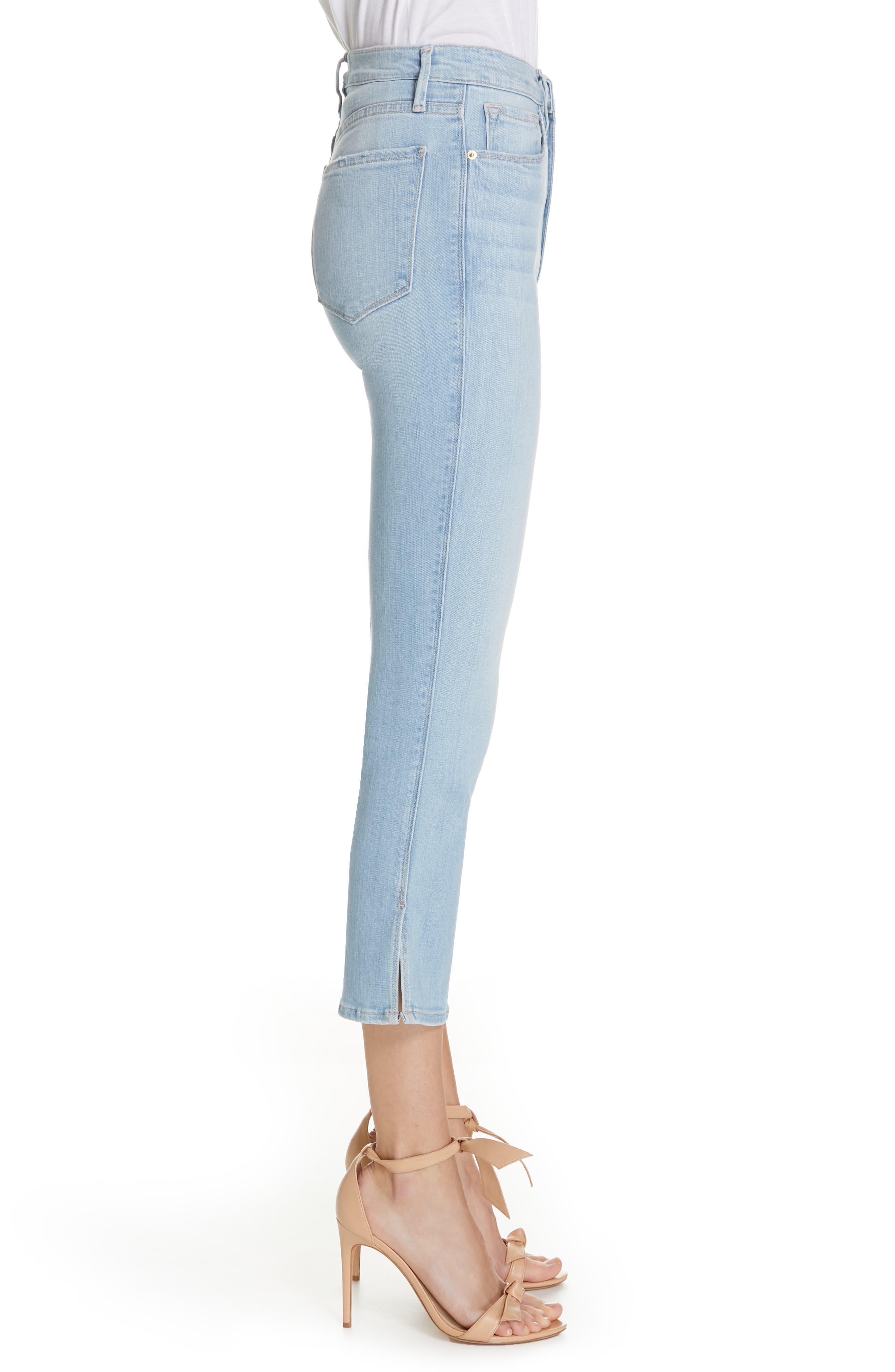 FRAME, Le Sylvie Slit Hem Crop Slim Jeans, Alternate thumbnail 4, color, SUPERSTAR
