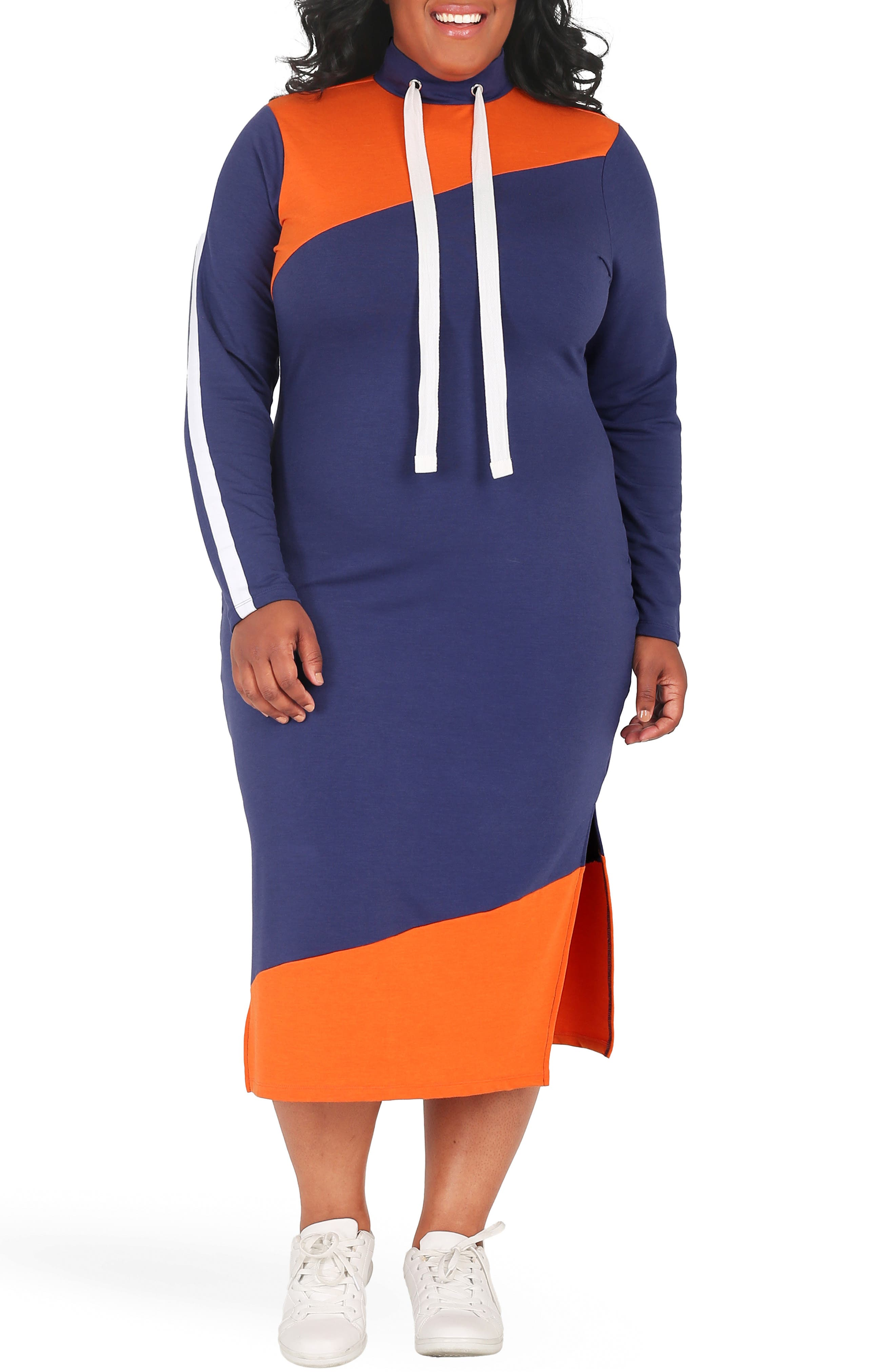 POETIC JUSTICE, Wanda Colorblock Midi Dress, Main thumbnail 1, color, NAVY