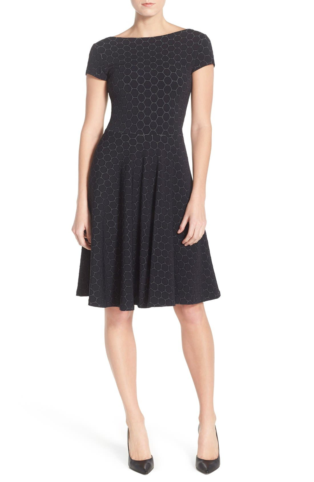 LEOTA 'Circle' Jacquard Woven Jersey Dress, Main, color, BLACK CAMEO CLOTH