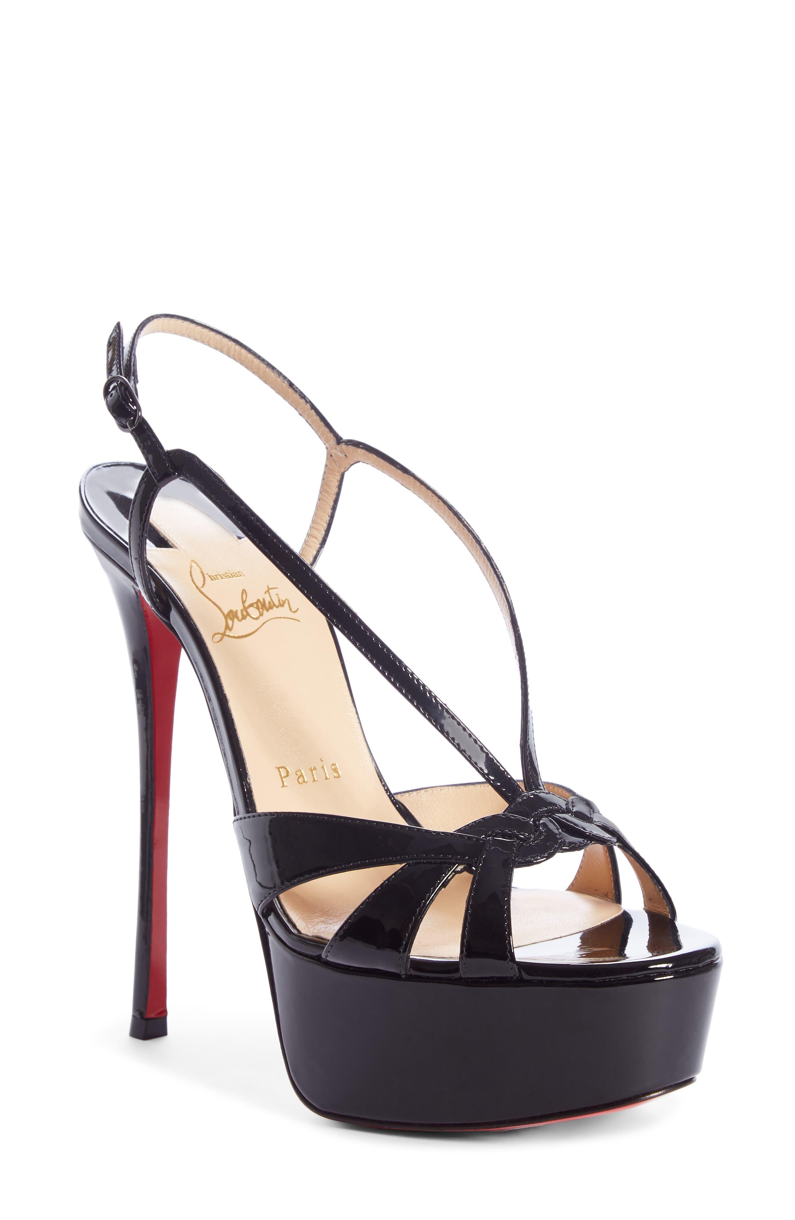 CHRISTIAN LOUBOUTIN Veracite Platform Sandal, Main, color, BLACK PATENT