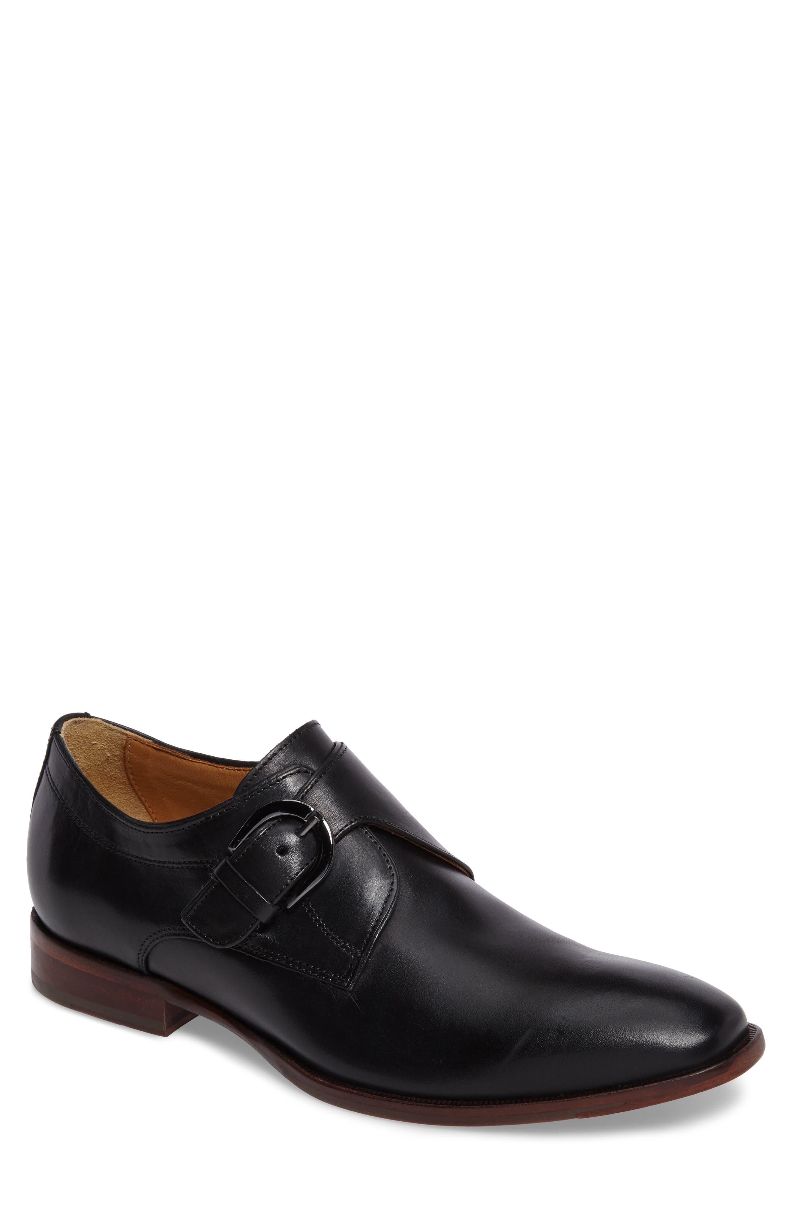 JOHNSTON & MURPHY, McClain Monk Strap Shoe, Main thumbnail 1, color, BLACK