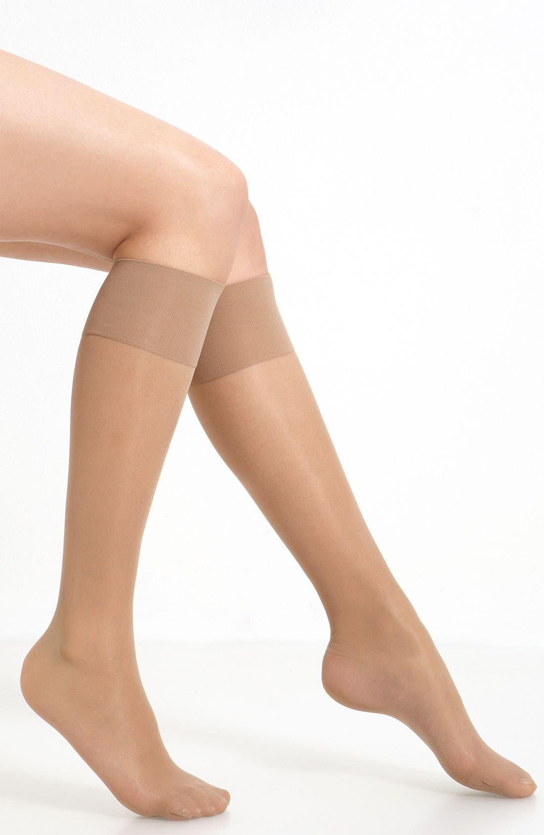 OROBLU, 'Mi-Bas Repos 70' Sheer Support Knee Highs, Main thumbnail 1, color, NUDE