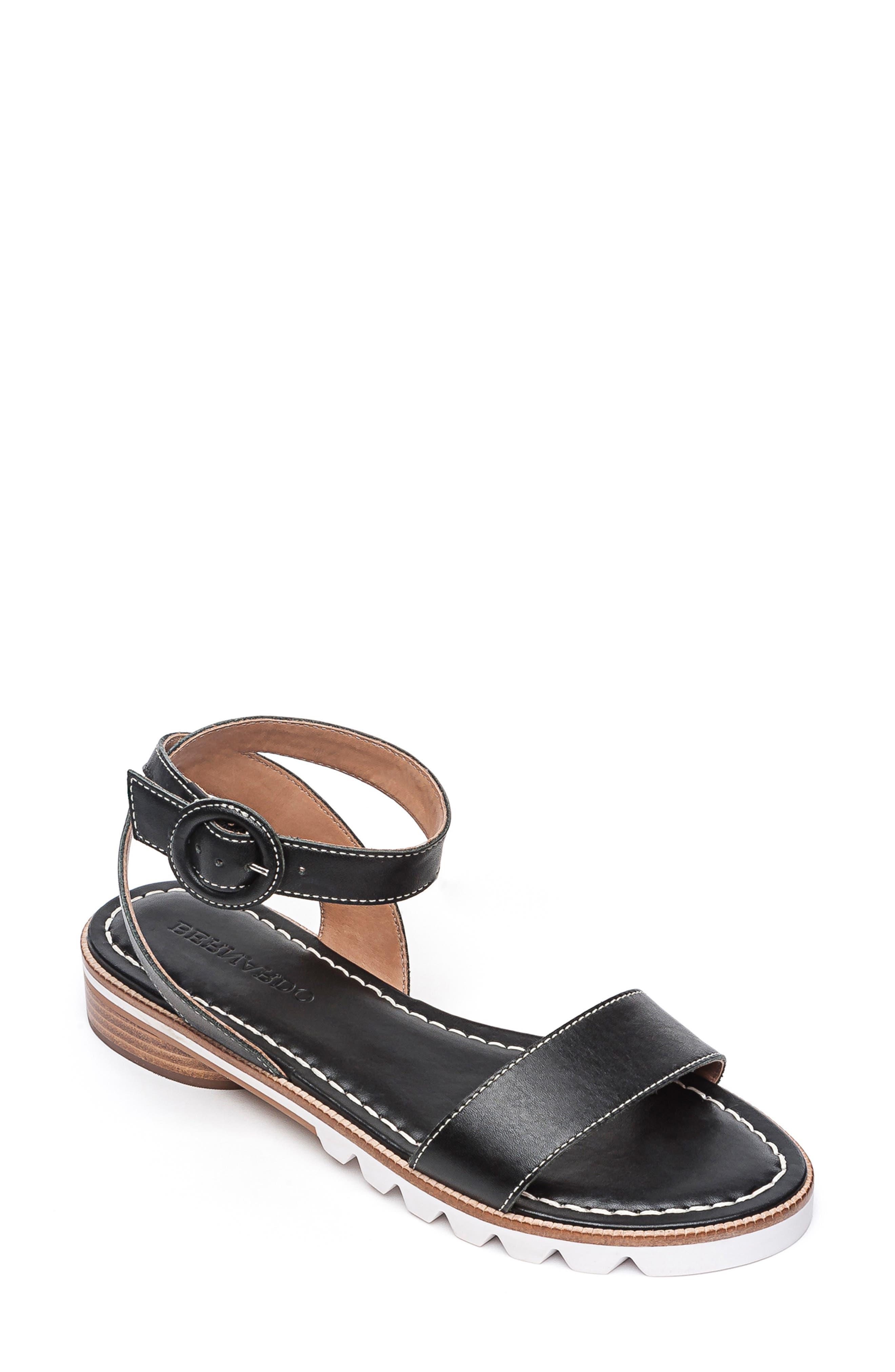 BERNARDO, Footwear Alexis Ankle Strap Sandal, Main thumbnail 1, color, BLACK