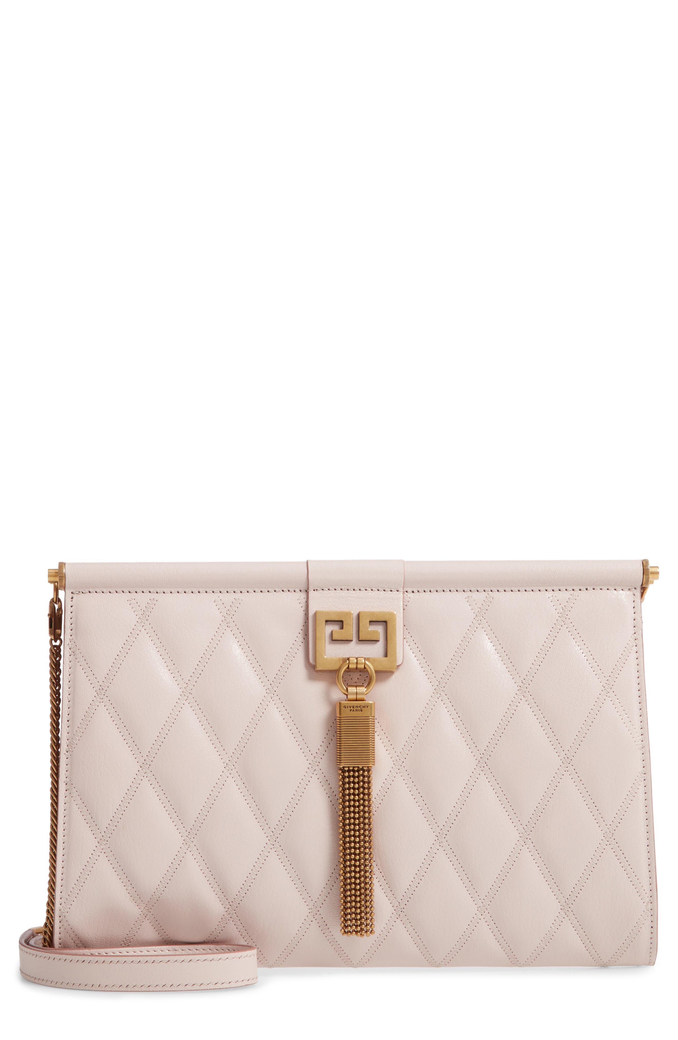 GIVENCHY Gem Quilted Leather Frame Shoulder Bag, Main, color, PALE PINK