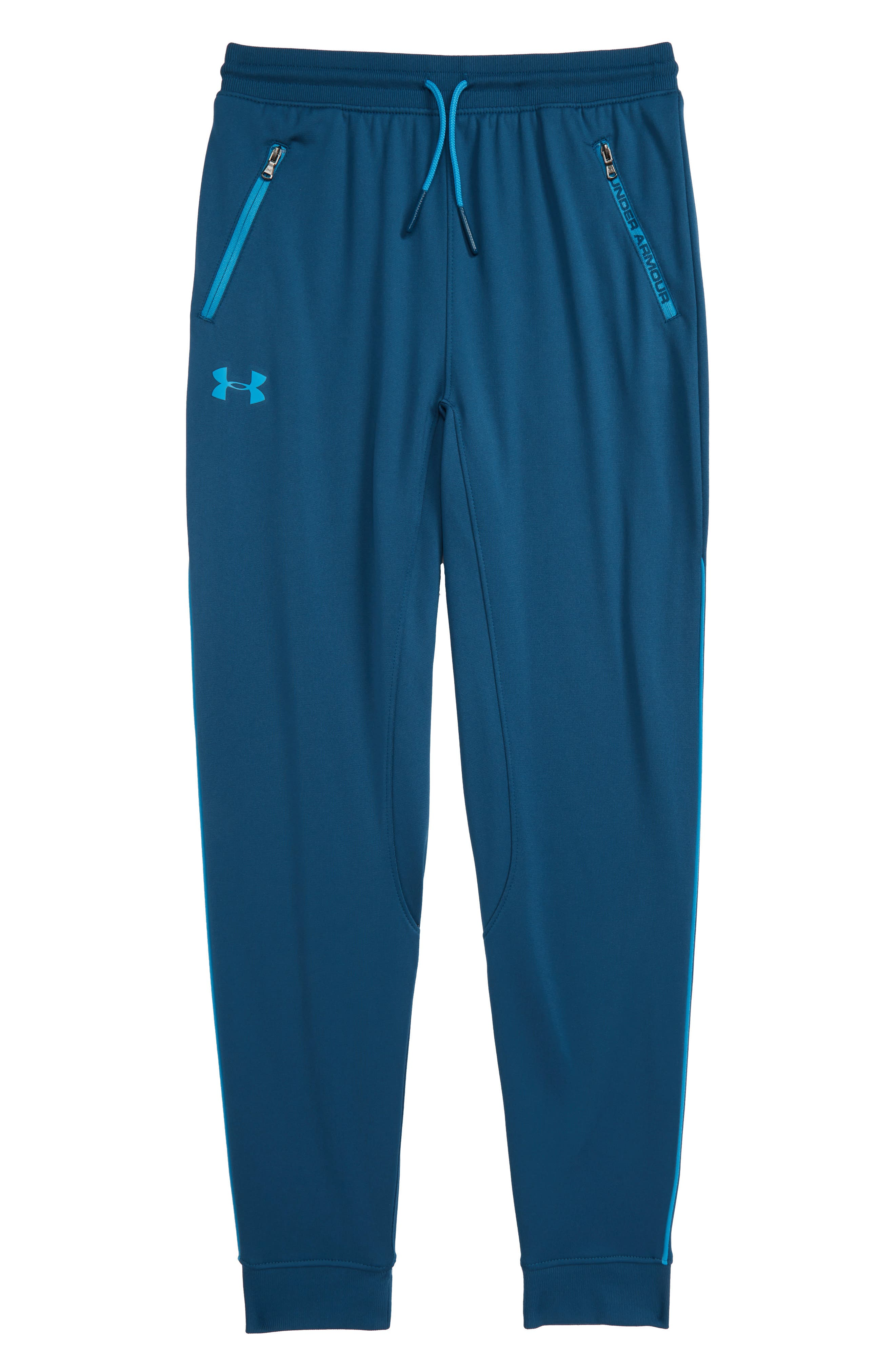 UNDER ARMOUR, Pennant Tapered Sweatpants, Main thumbnail 1, color, PETROL BLUE/ ETHER BLUE