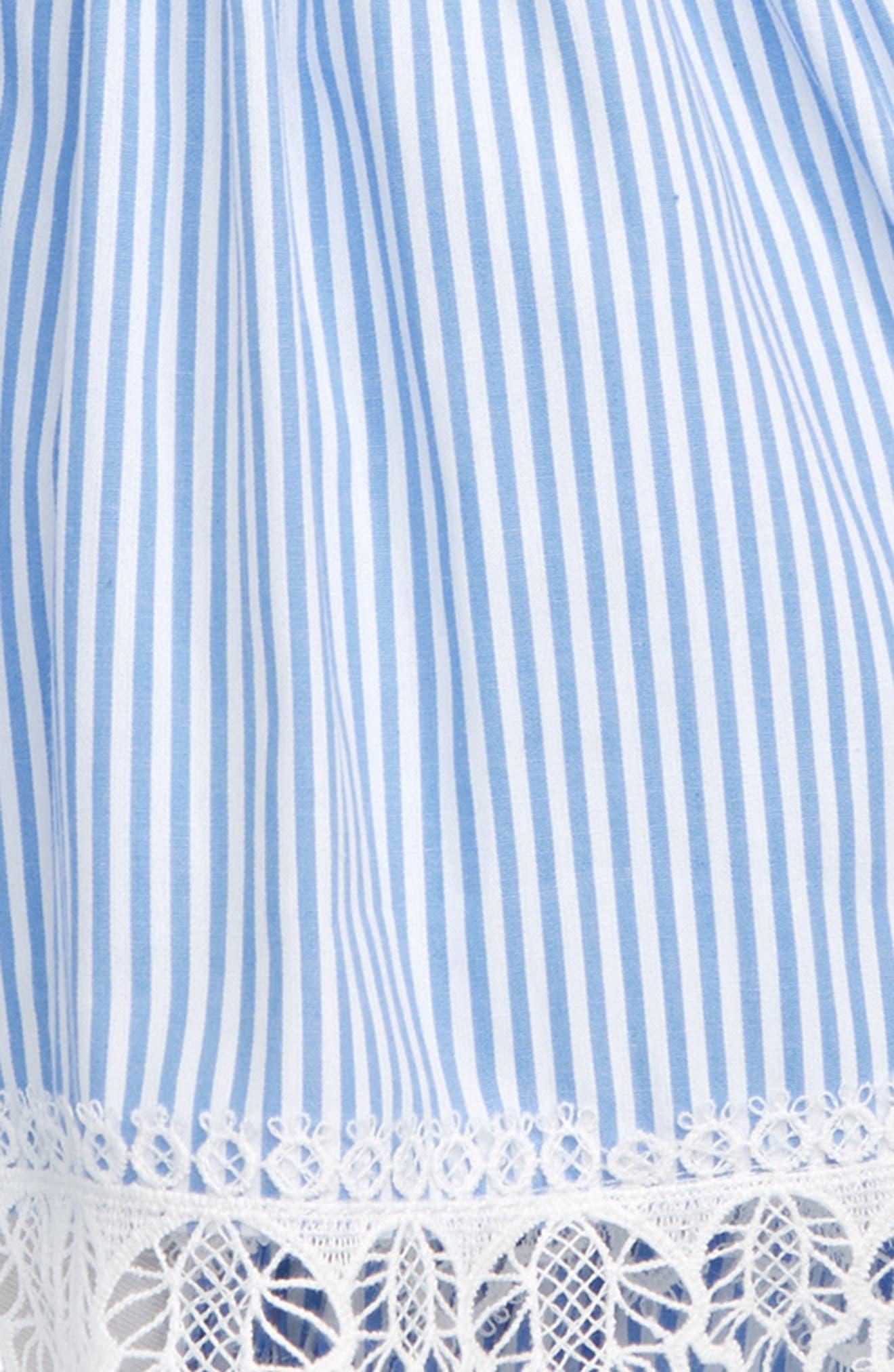 POPATU, Lace & Stripe Pinafore Dress, Alternate thumbnail 2, color, BLUE