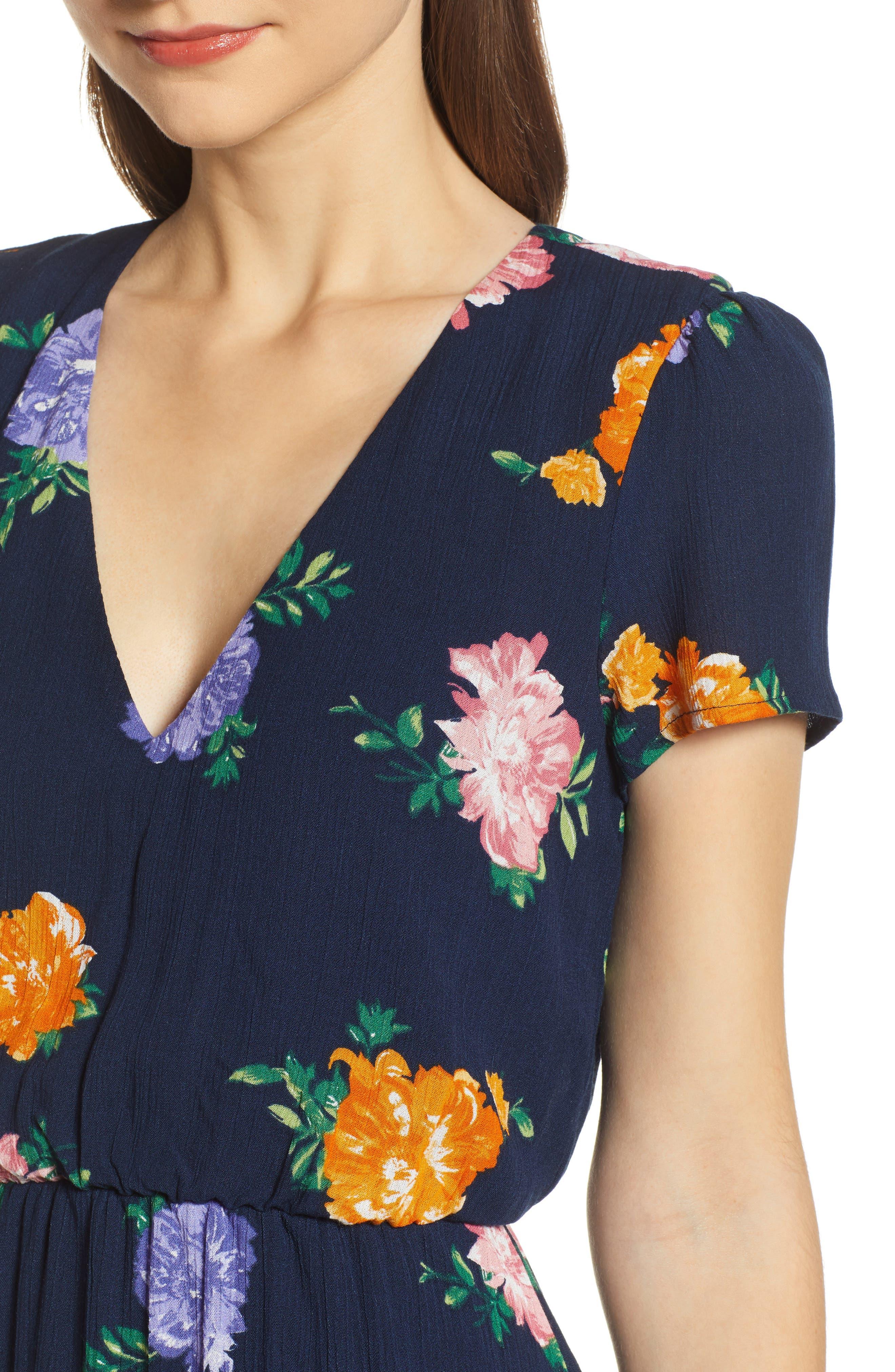 WAYF, Blouson Midi Dress, Alternate thumbnail 5, color, NAVY FLORAL