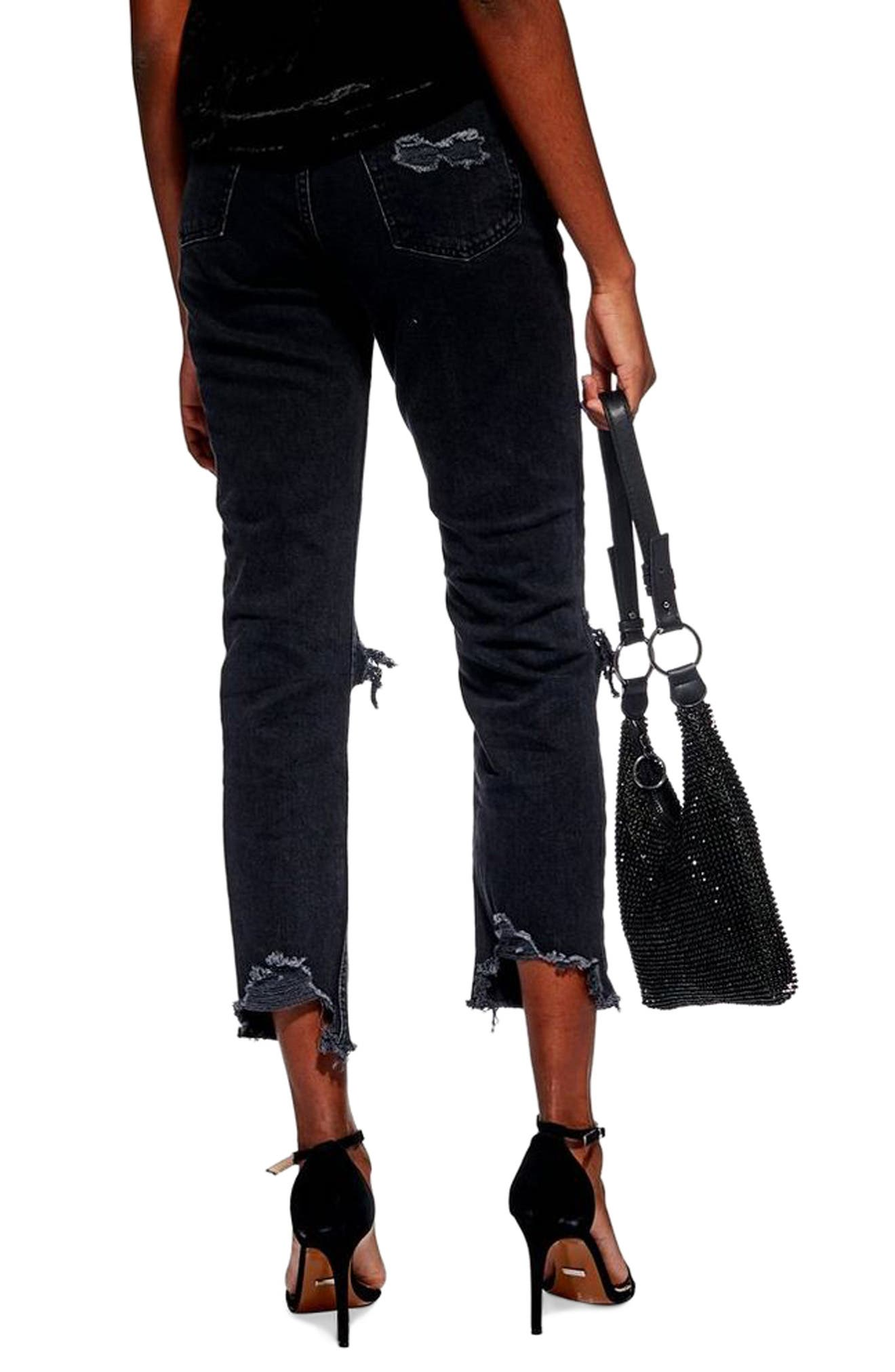 TOPSHOP, Ripped Straight Jeans, Alternate thumbnail 2, color, WASHED BLACK