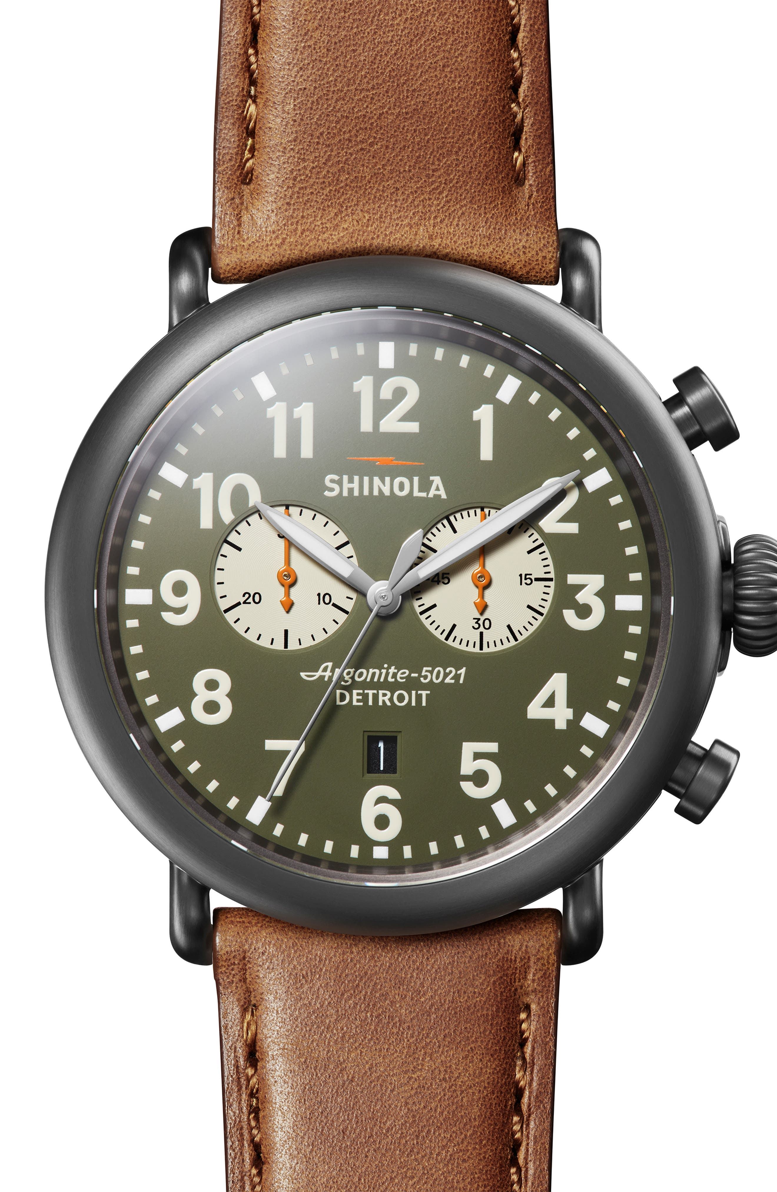 SHINOLA, The Runwell Chrono Leather Strap Watch, 47mm, Main thumbnail 1, color, TAN/ SPRUCE/ GUNMETAL