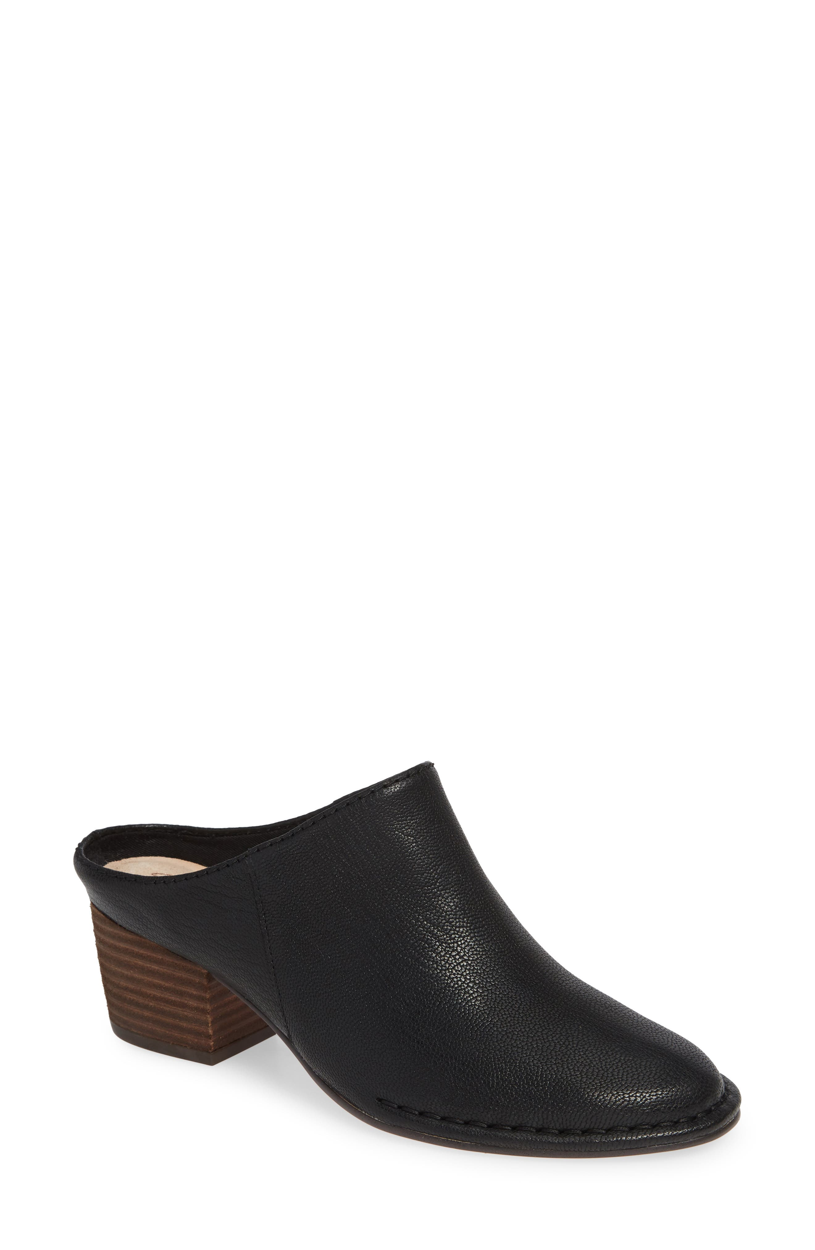 CLARKS<SUP>®</SUP>, Spiced Isla Mule, Main thumbnail 1, color, BLACK LEATHER