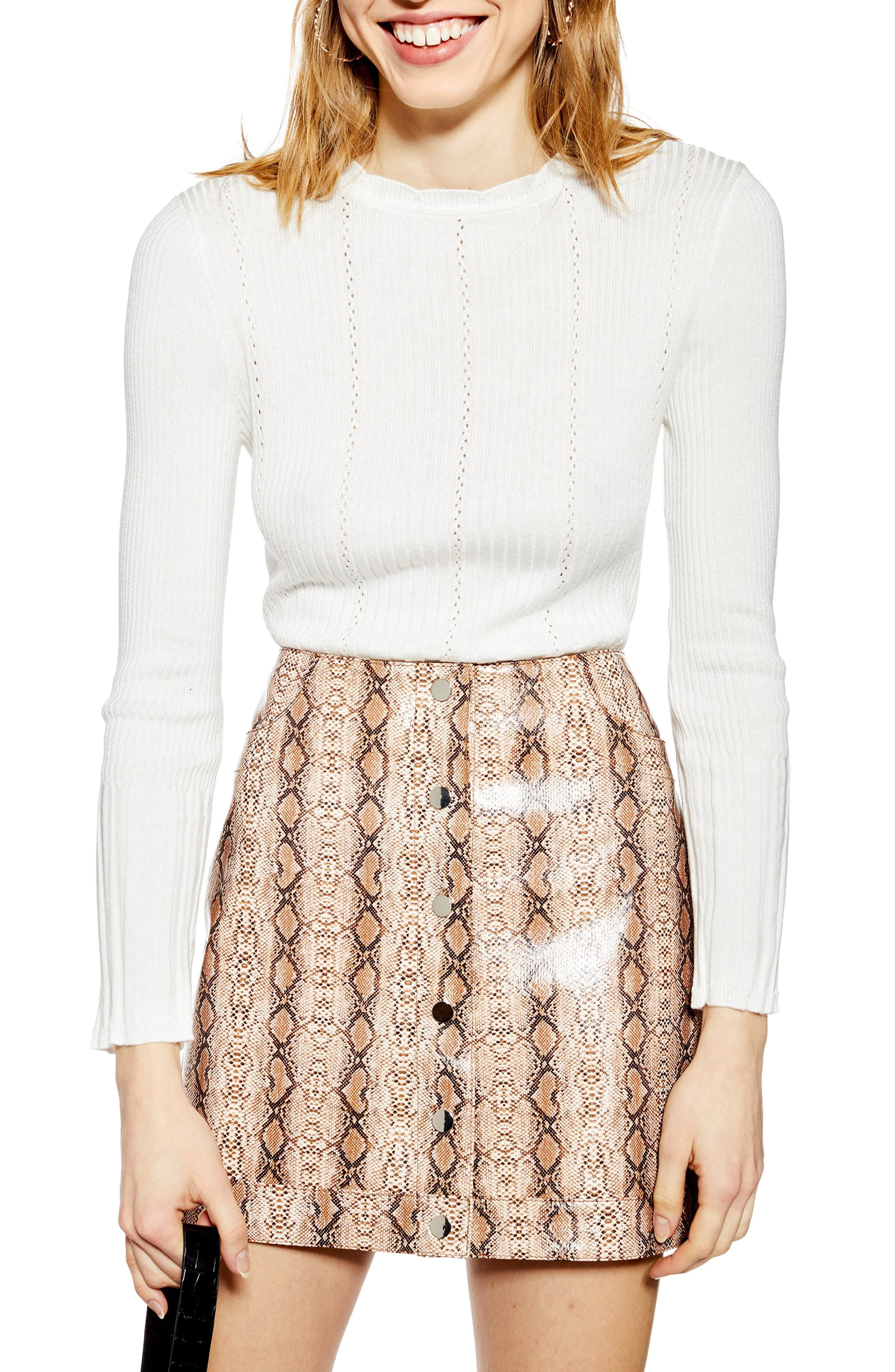 TOPSHOP, Pointelle Sweater, Main thumbnail 1, color, IVORY