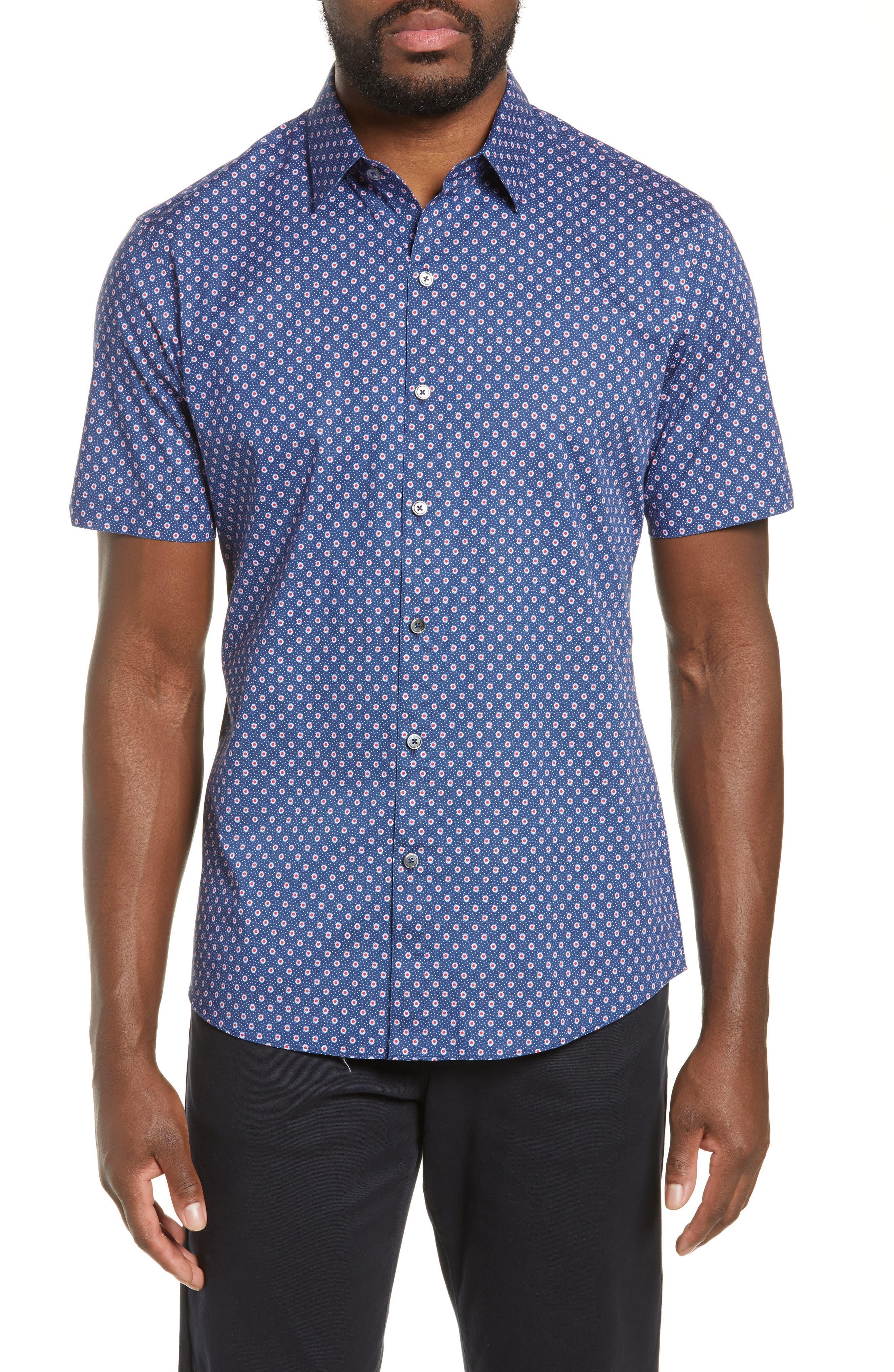 ZACHARY PRELL, Murray Regular Fit Print Sport Shirt, Main thumbnail 1, color, BLUE