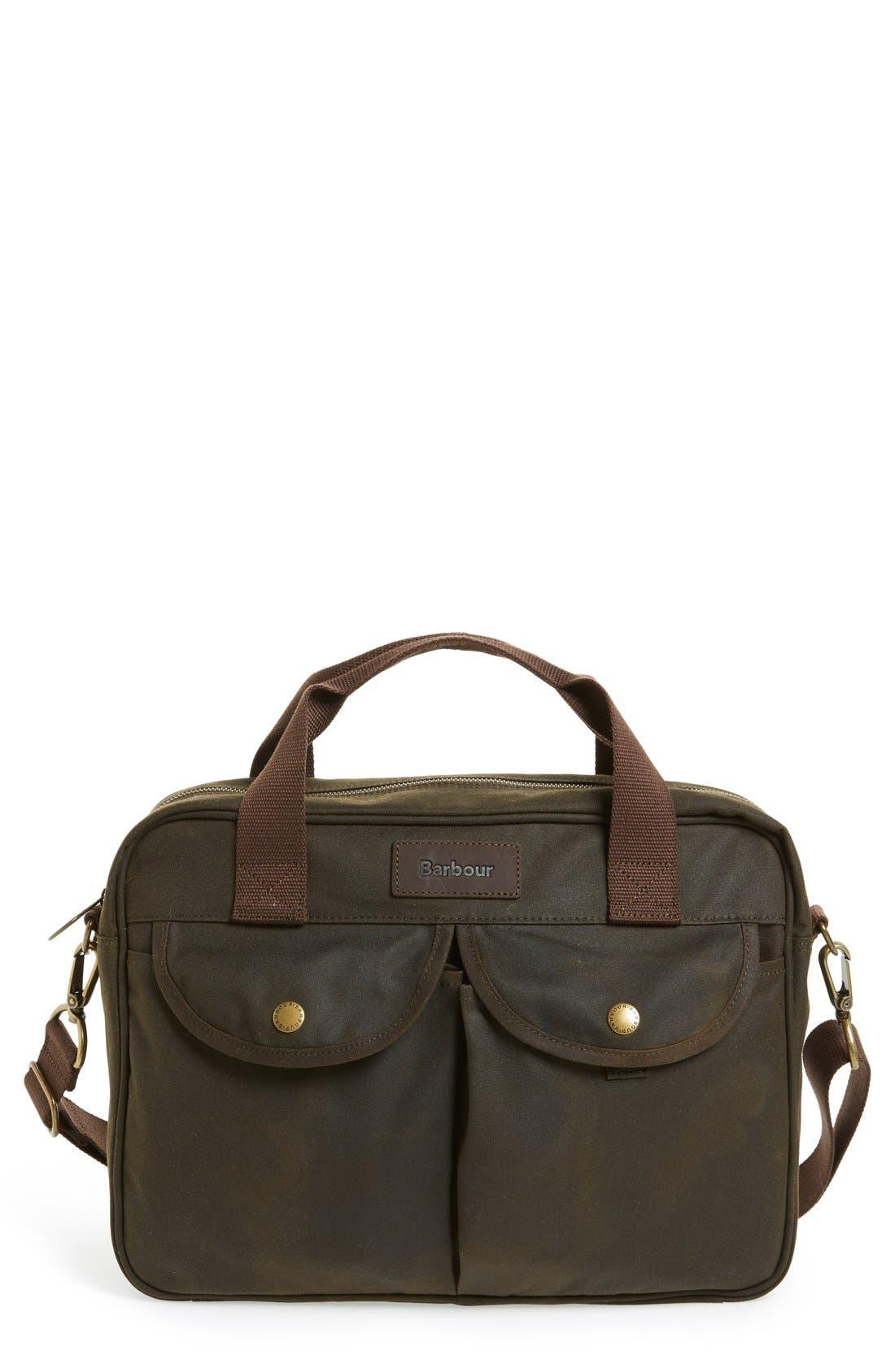 BARBOUR 'Longthorpe' Waxed Canvas Laptop Bag, Main, color, OLIVE