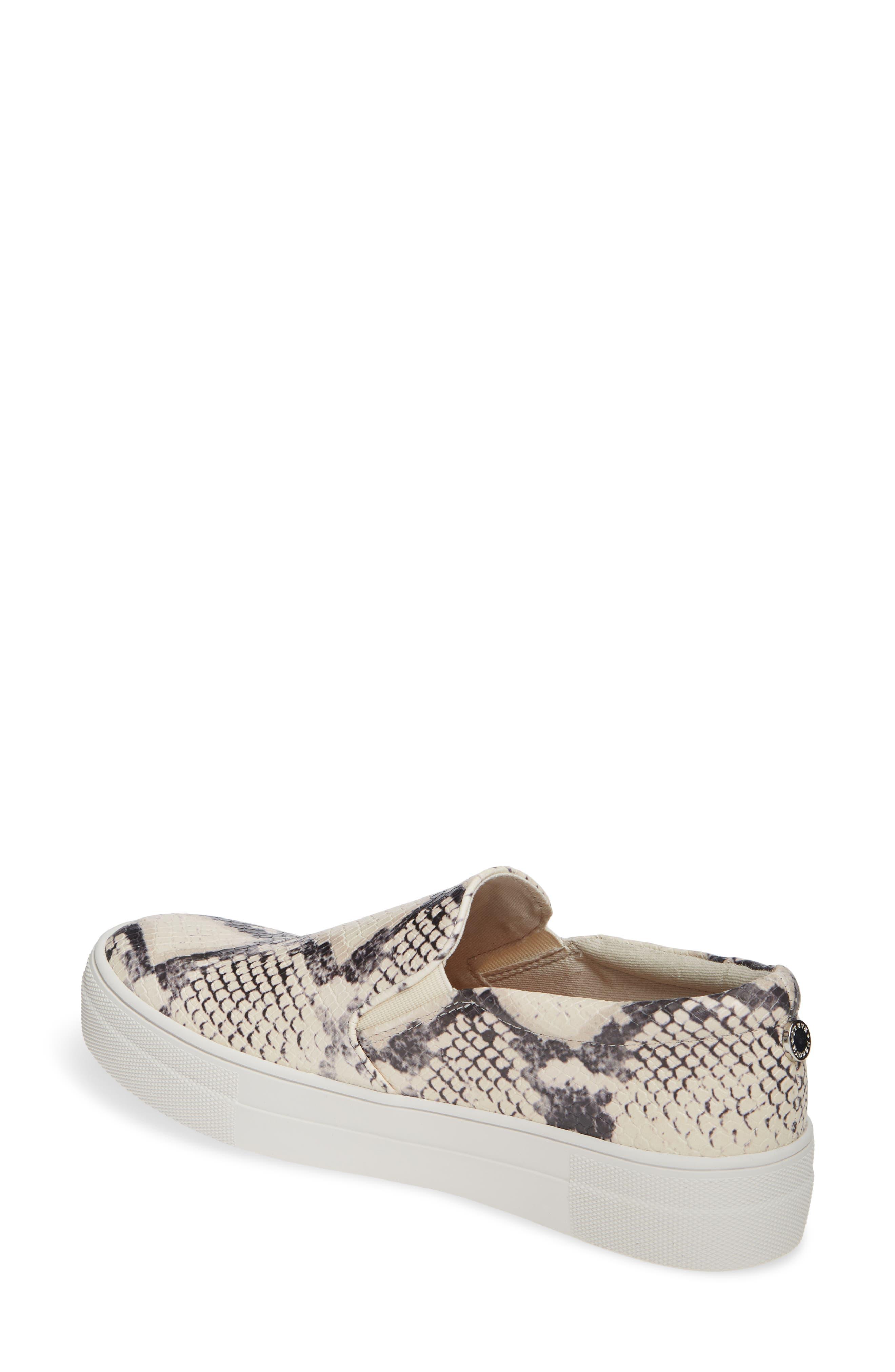 STEVE MADDEN, Gills Platform Slip-On Sneaker, Alternate thumbnail 2, color, BEIGE SNAKE PRINT
