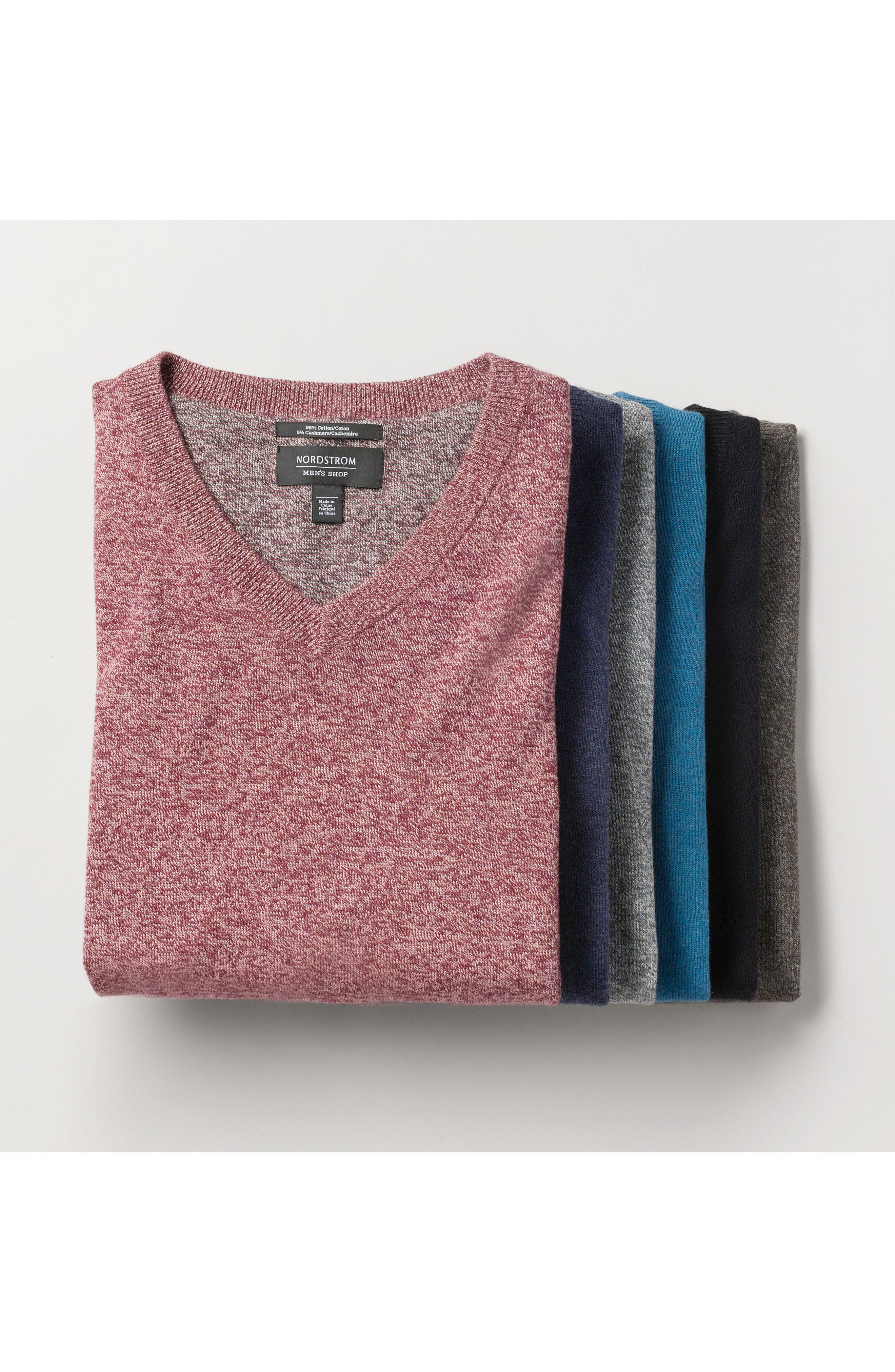 NORDSTROM MEN'S SHOP, Cotton & Cashmere V-Neck Sweater, Alternate thumbnail 9, color, BLUE CAMP MARL