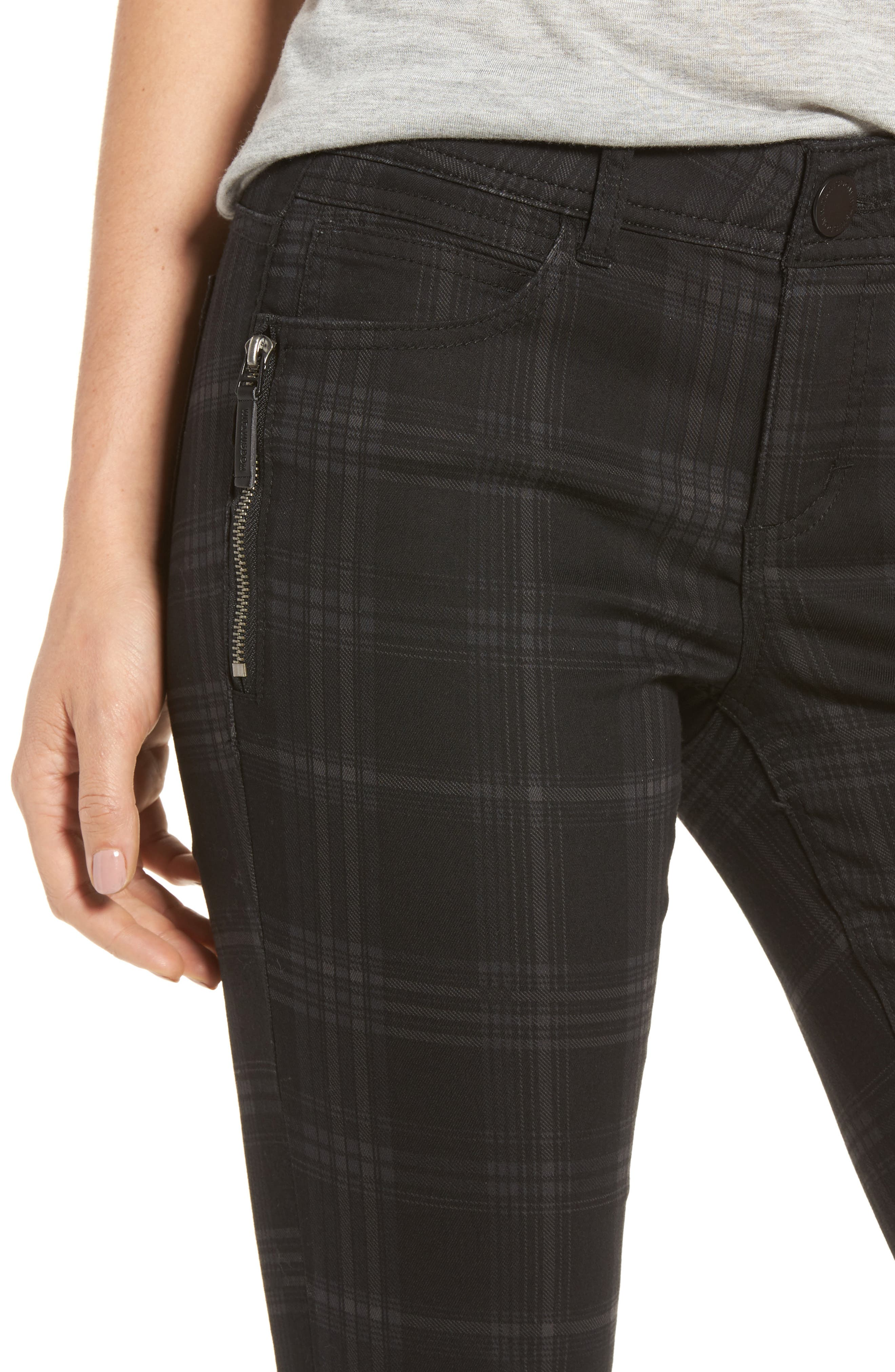 WIT & WISDOM, Ab-solution Side Zip Plaid Skinny Pants, Alternate thumbnail 5, color, BLACK