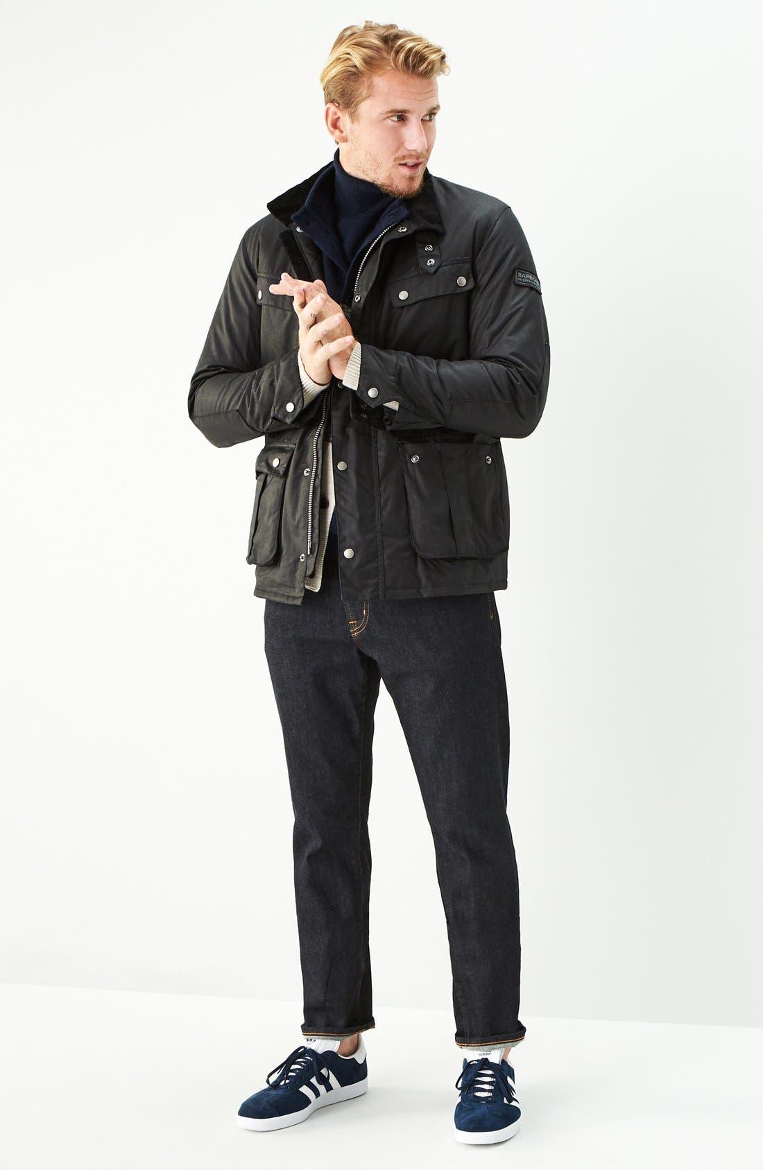 BARBOUR, 'Duke' Regular Fit Waterproof Waxed Cotton Jacket, Alternate thumbnail 5, color, BLACK