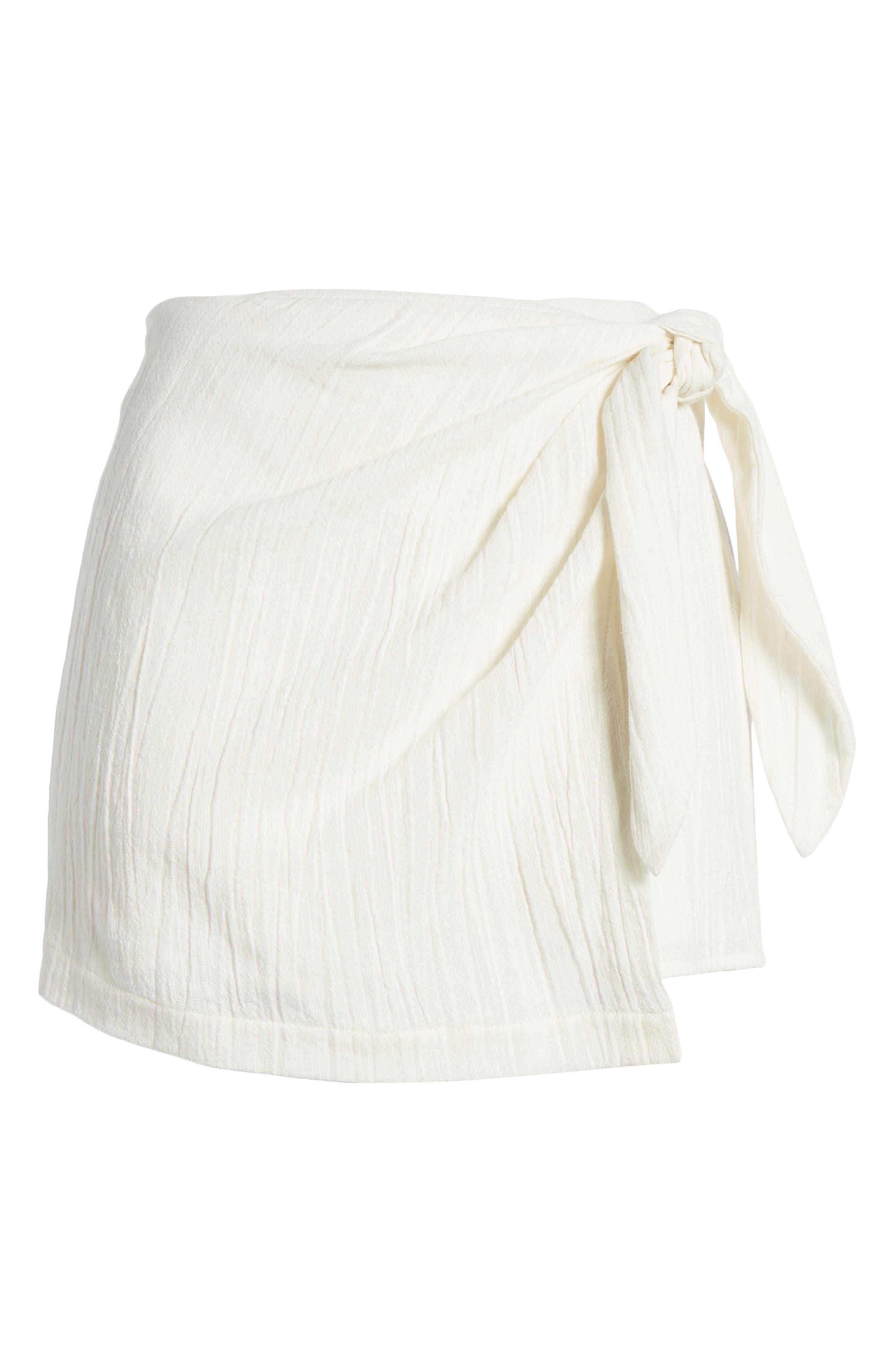 4SI3NNA, Tie Waist Skort, Alternate thumbnail 6, color, 900
