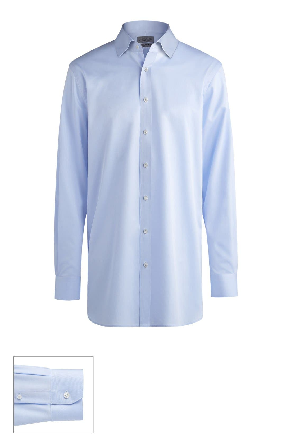 JOHN W. NORDSTROM<SUP>®</SUP>, Made to Measure Extra Trim Fit Spread Collar Solid Dress Shirt, Main thumbnail 1, color, BLUE TWILL