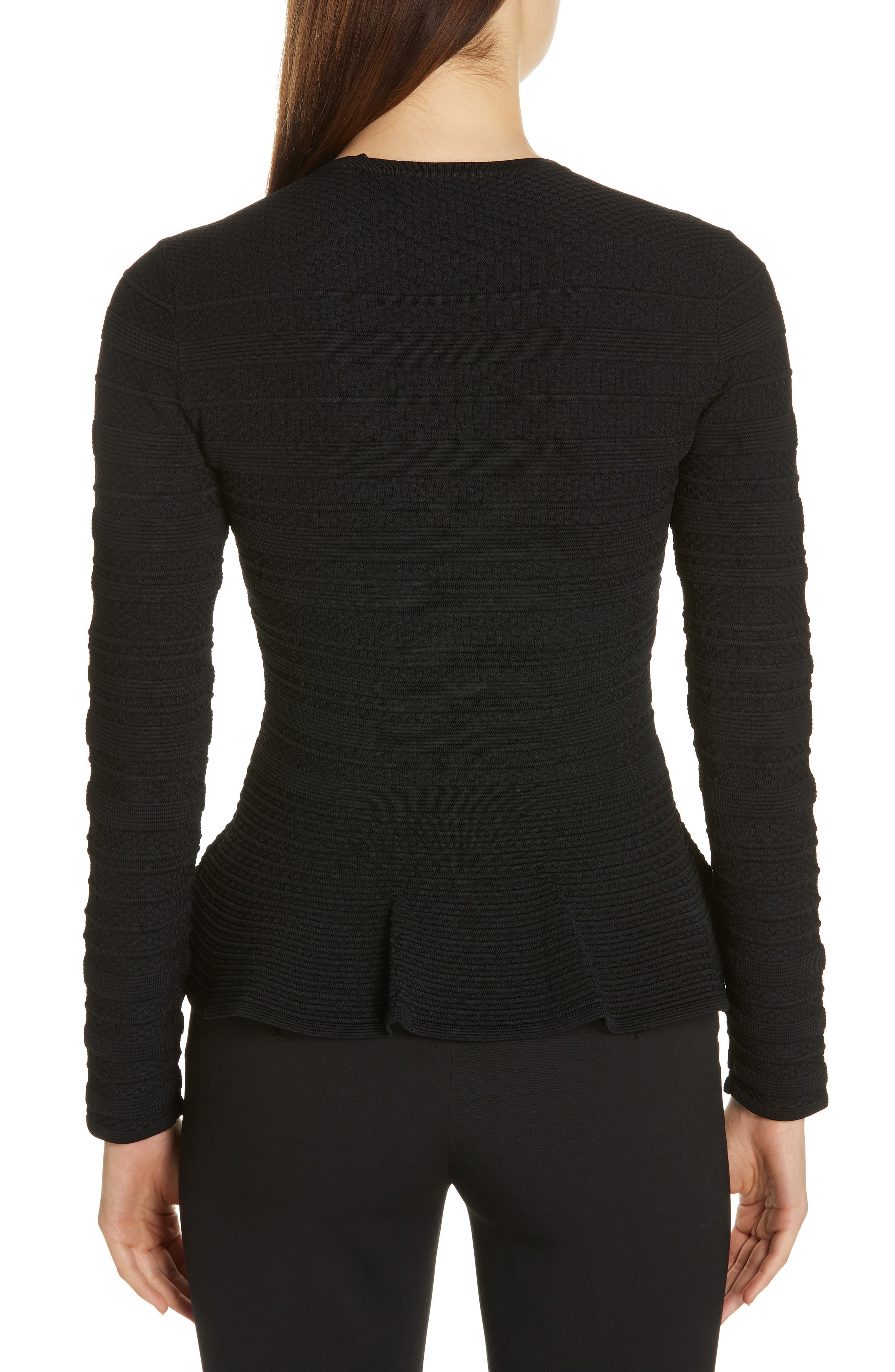 TED BAKER LONDON, Deari Structured Peplum Cardigan, Alternate thumbnail 2, color, 001