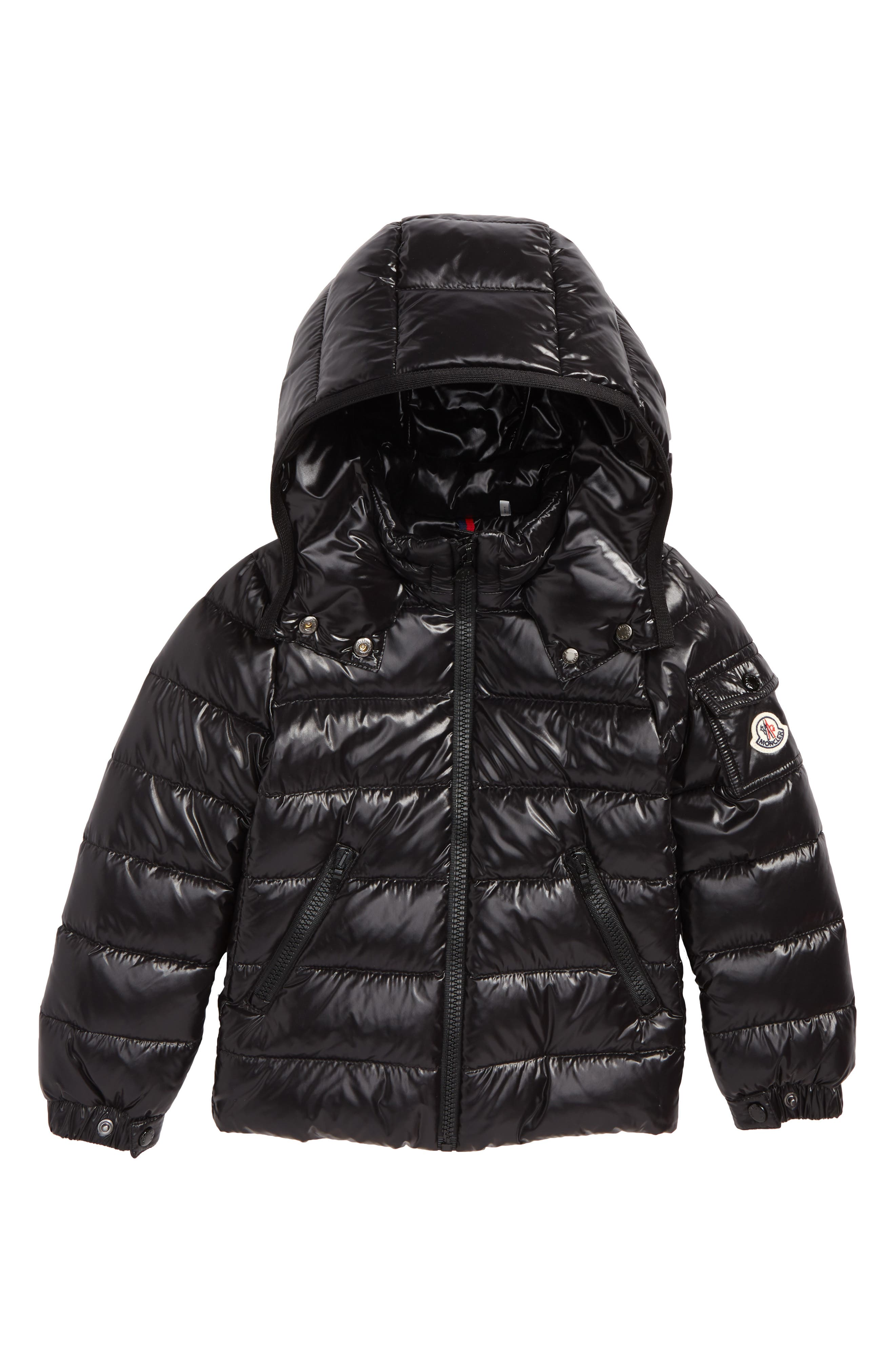 MONCLER Bady Hooded Down Jacket, Main, color, BLACK