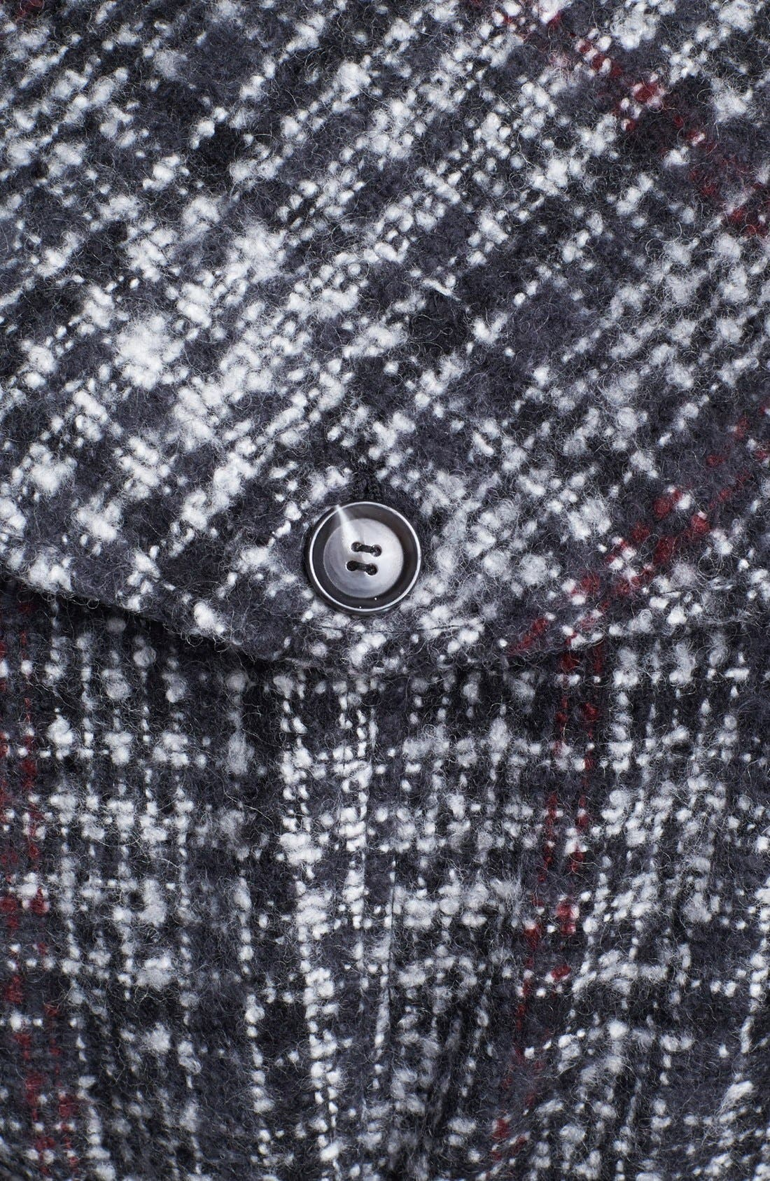 DKNY, Belted Plaid Tweed Coat, Alternate thumbnail 4, color, 061