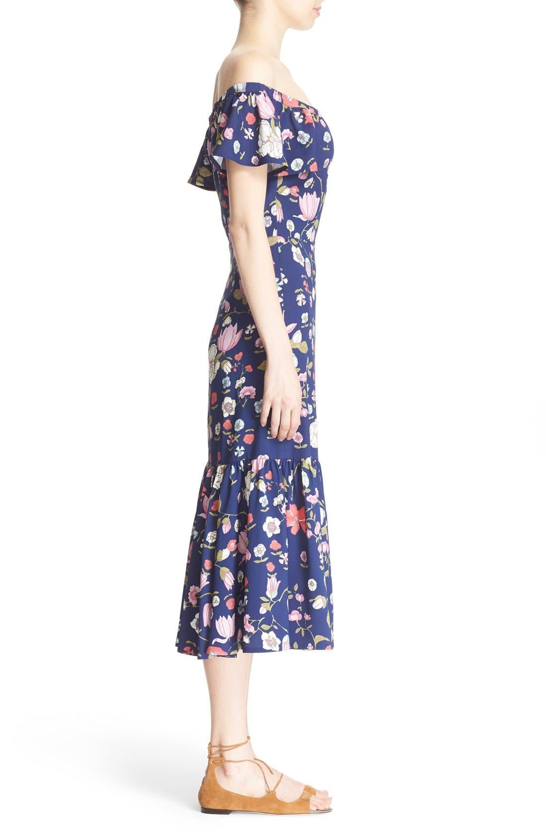 REBECCA TAYLOR, Off the Shoulder Floral Print Dress, Alternate thumbnail 4, color, 510