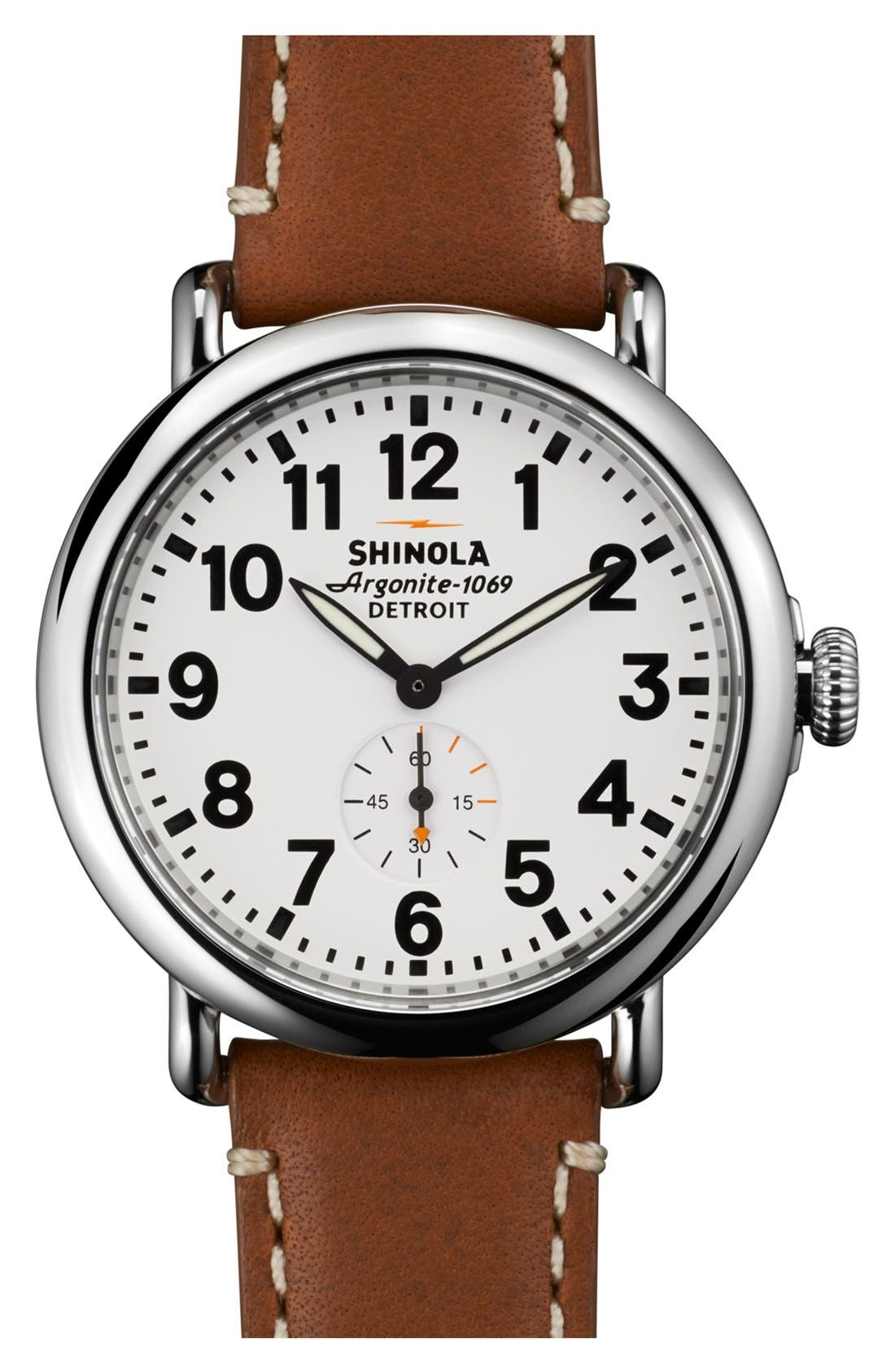 SHINOLA, 'The Runwell' Leather Strap Watch, 41mm, Main thumbnail 1, color, BROWN/ WHITE