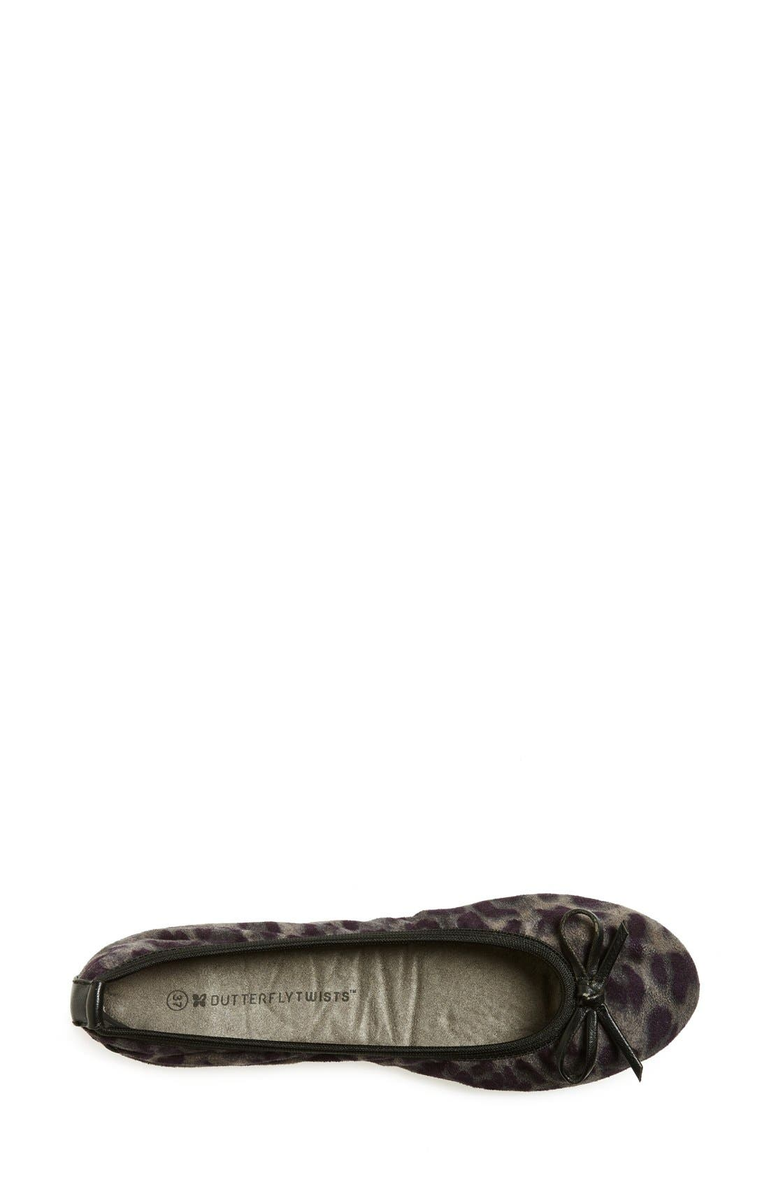 BUTTERFLY TWISTS, 'Cleo Leopard' Foldable Ballerina Flat, Alternate thumbnail 4, color, 020
