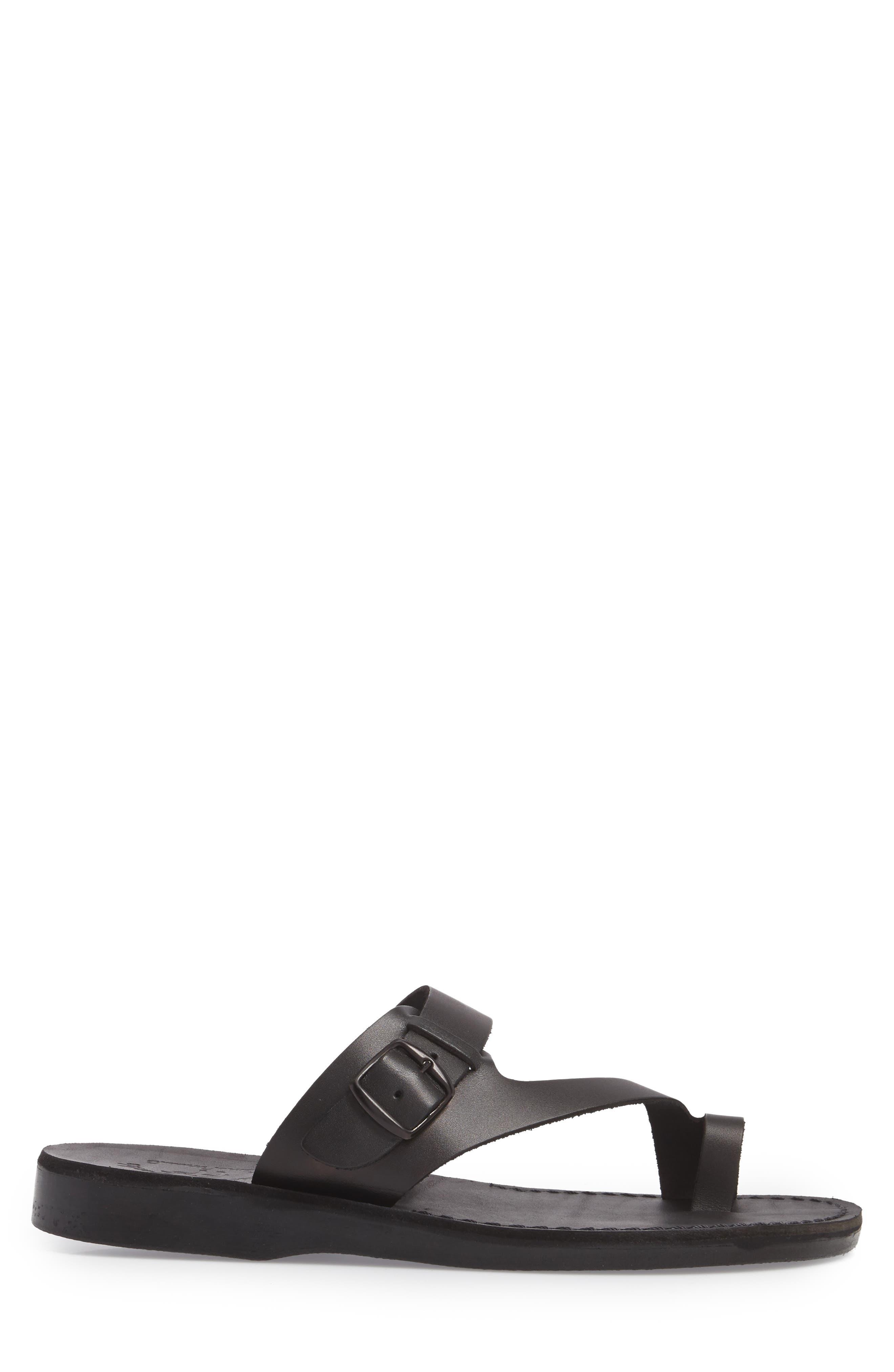 JERUSALEM SANDALS, Abner Toe Loop Sandal, Alternate thumbnail 3, color, BLACK LEATHER