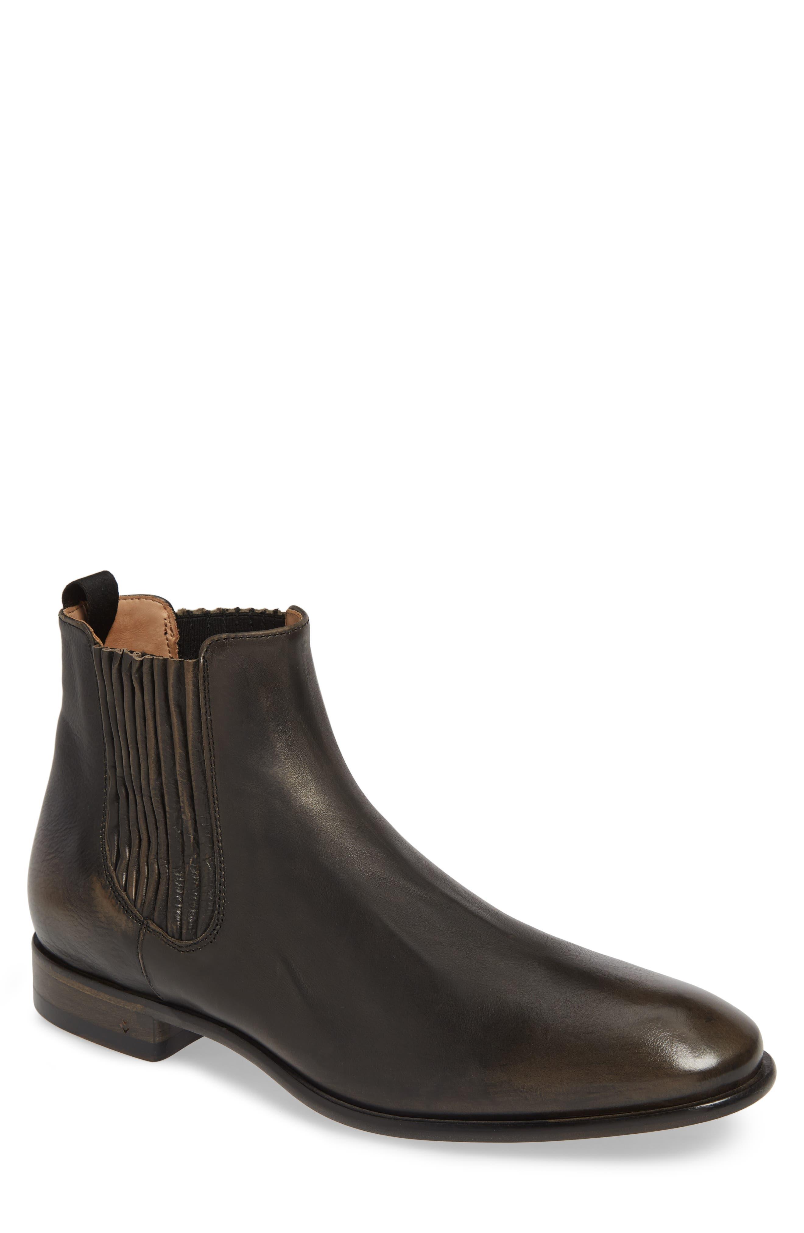 JOHN VARVATOS COLLECTION Eldridge Chelsea Boot, Main, color, CHARCOAL