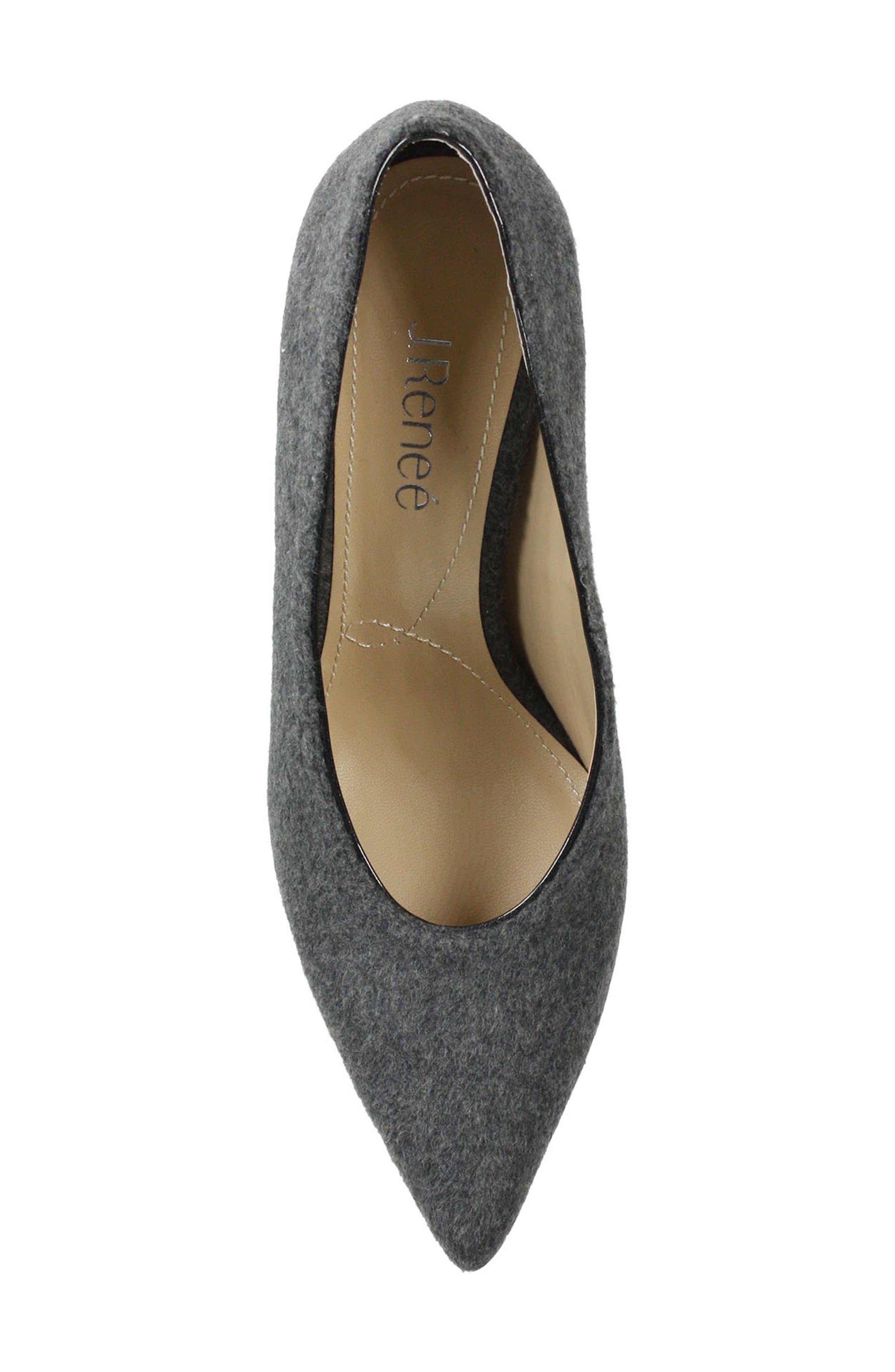 J. RENEÉ, Madisson Pointy Toe Pump, Alternate thumbnail 5, color, GREY FABRIC