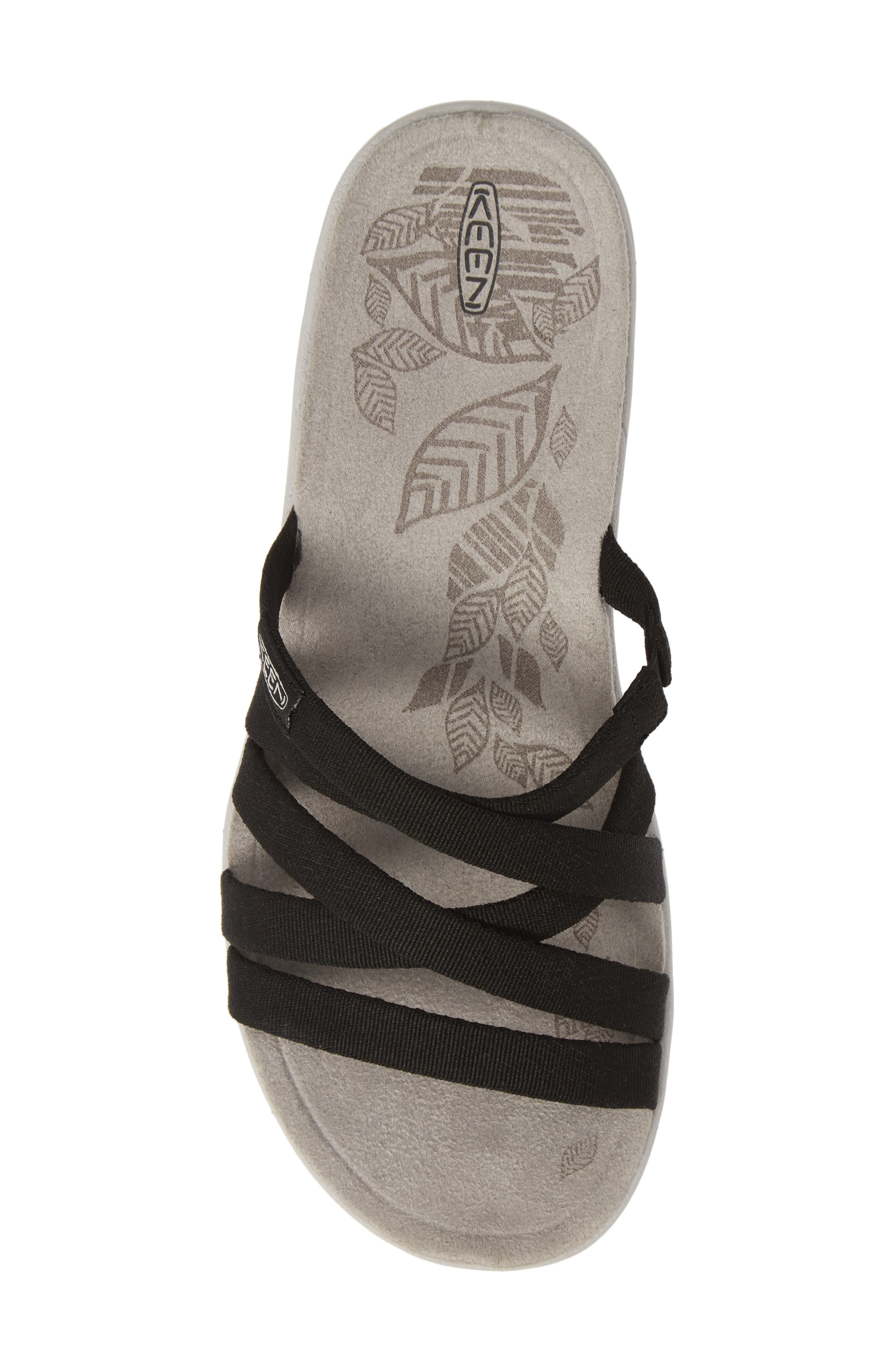 KEEN, Damaya Slide Sandal, Alternate thumbnail 5, color, BLACK/ VAPOR BLUE FABRIC