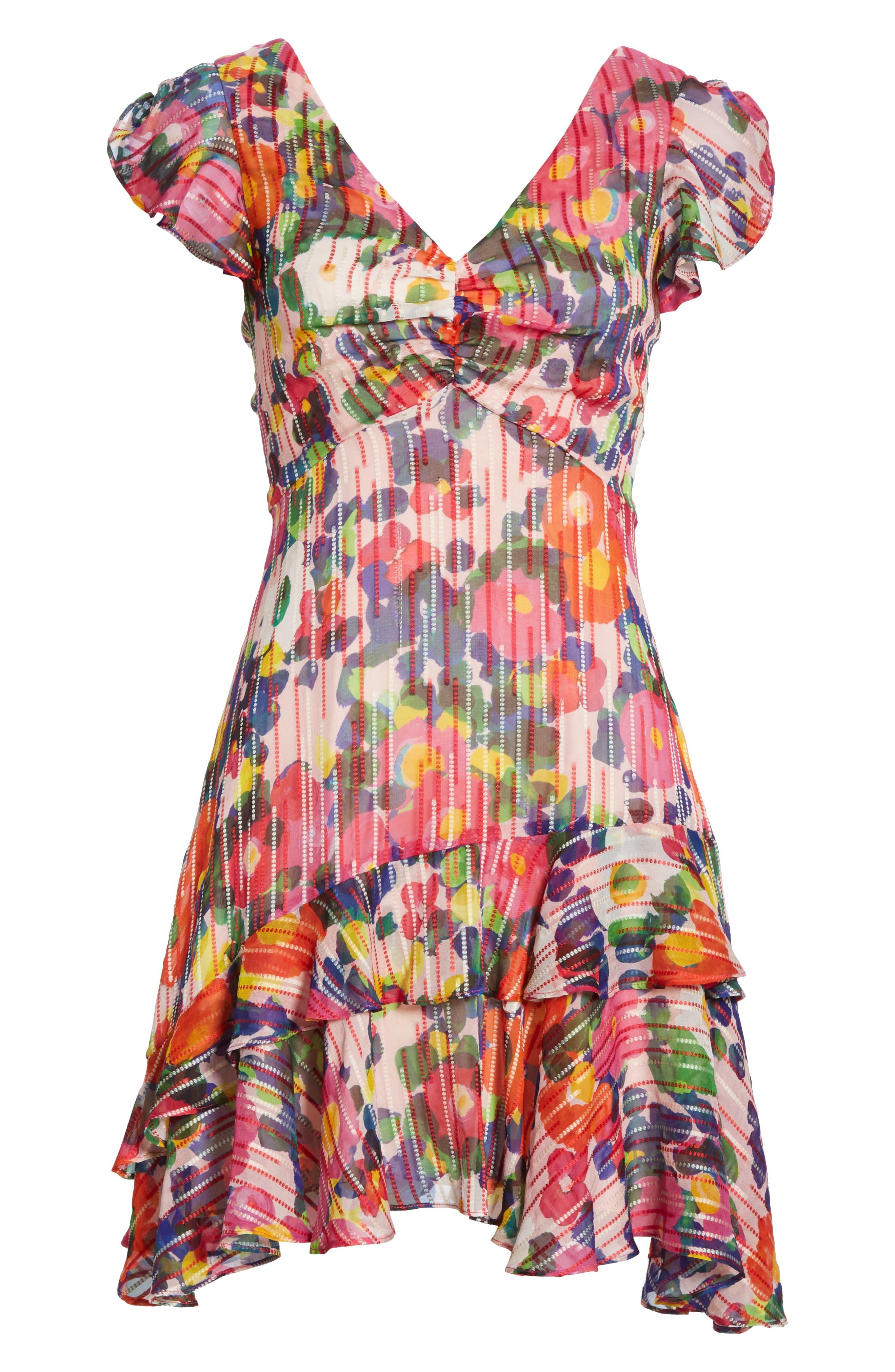 SALONI, Catia Floral Print Silk Blend Minidress, Alternate thumbnail 7, color, PINK ROSETTE
