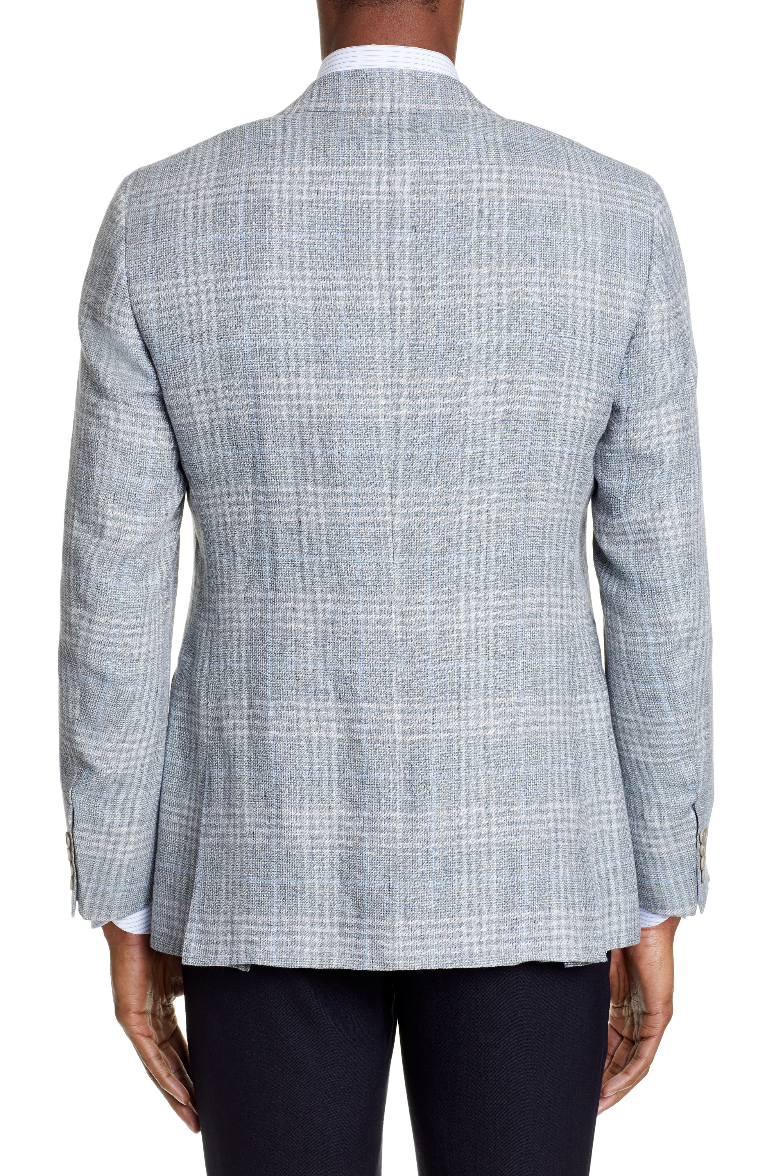 CANALI, Sienna Classic Fit Plaid Linen & Wool Sport Coat, Alternate thumbnail 2, color, LIGHT GREEN