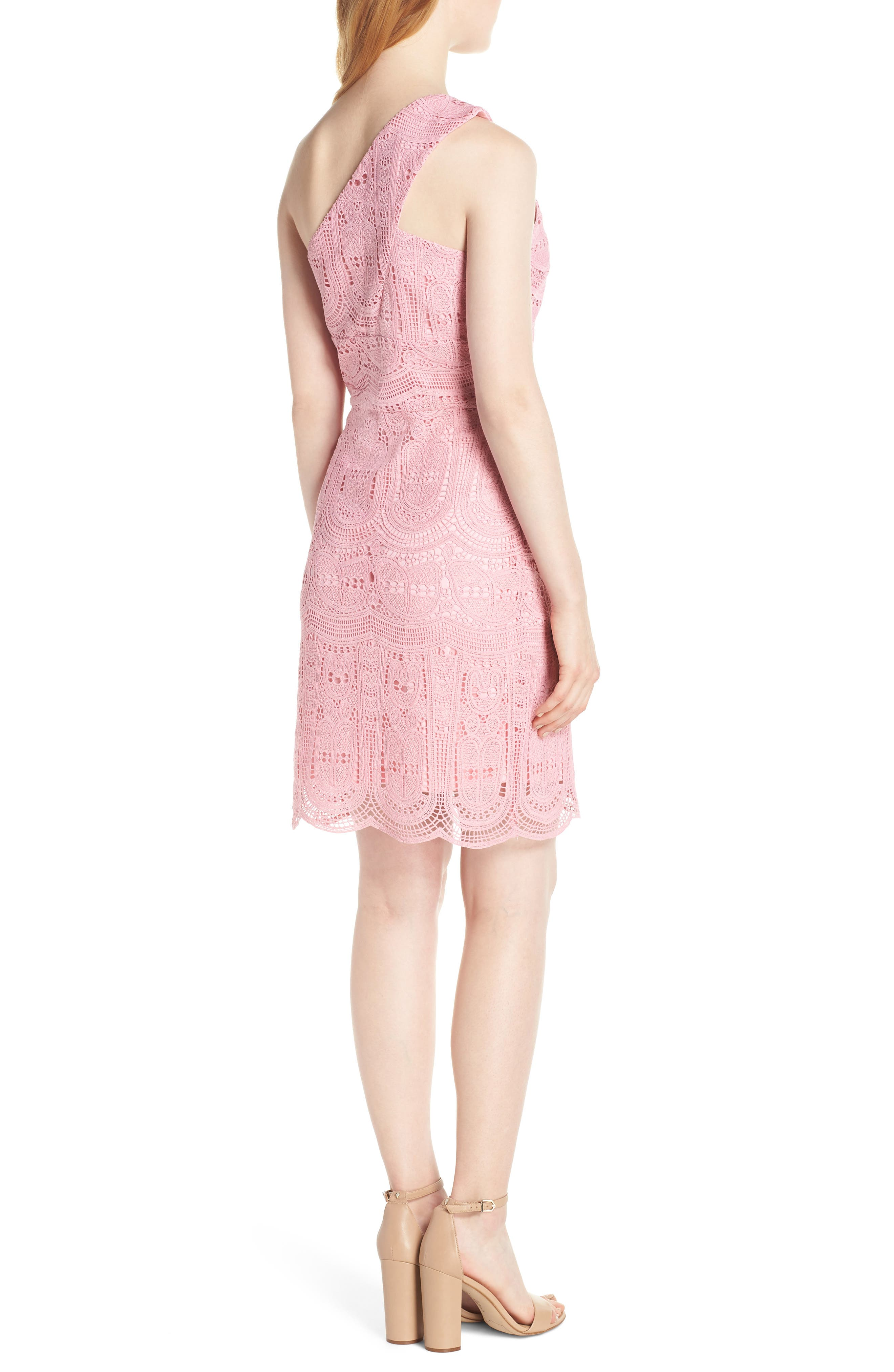 NSR, Grace One-Shoulder Lace Sheath Dress, Alternate thumbnail 2, color, PINK