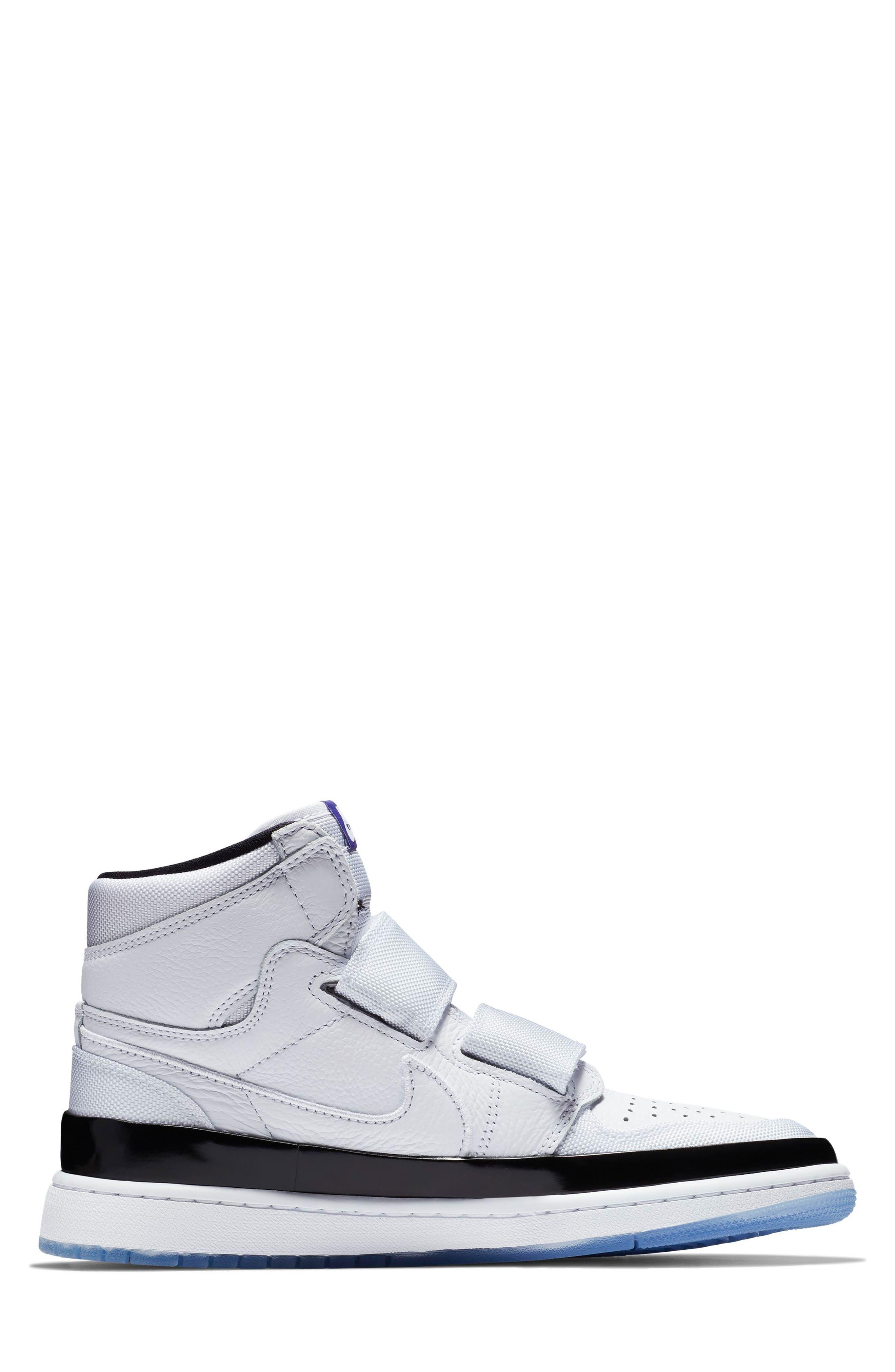 NIKE, Air Jordan 1 Retro High Double Strap Sneaker, Alternate thumbnail 2, color, WHITE/ DARK CONCORD/ BLACK