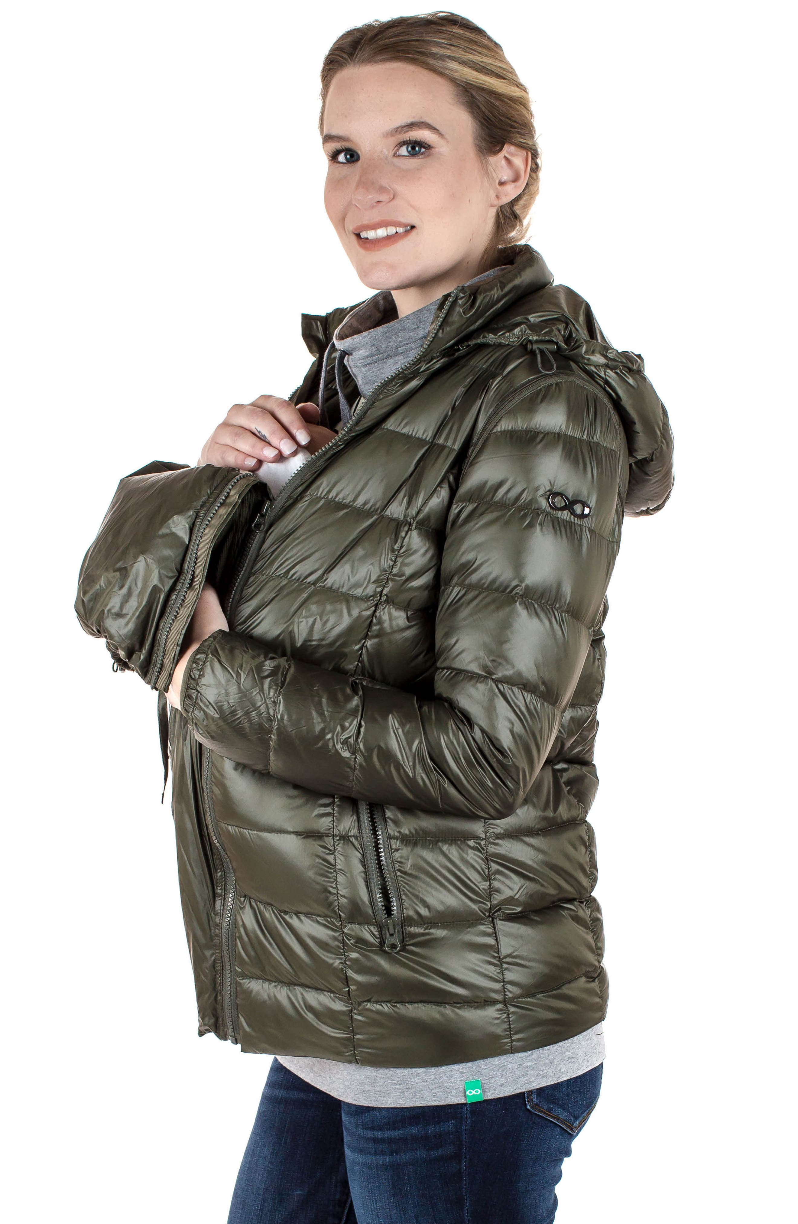 MODERN ETERNITY, Lightweight Puffer Convertible 3-in-1 Maternity Jacket, Alternate thumbnail 7, color, KHAKI GREEN