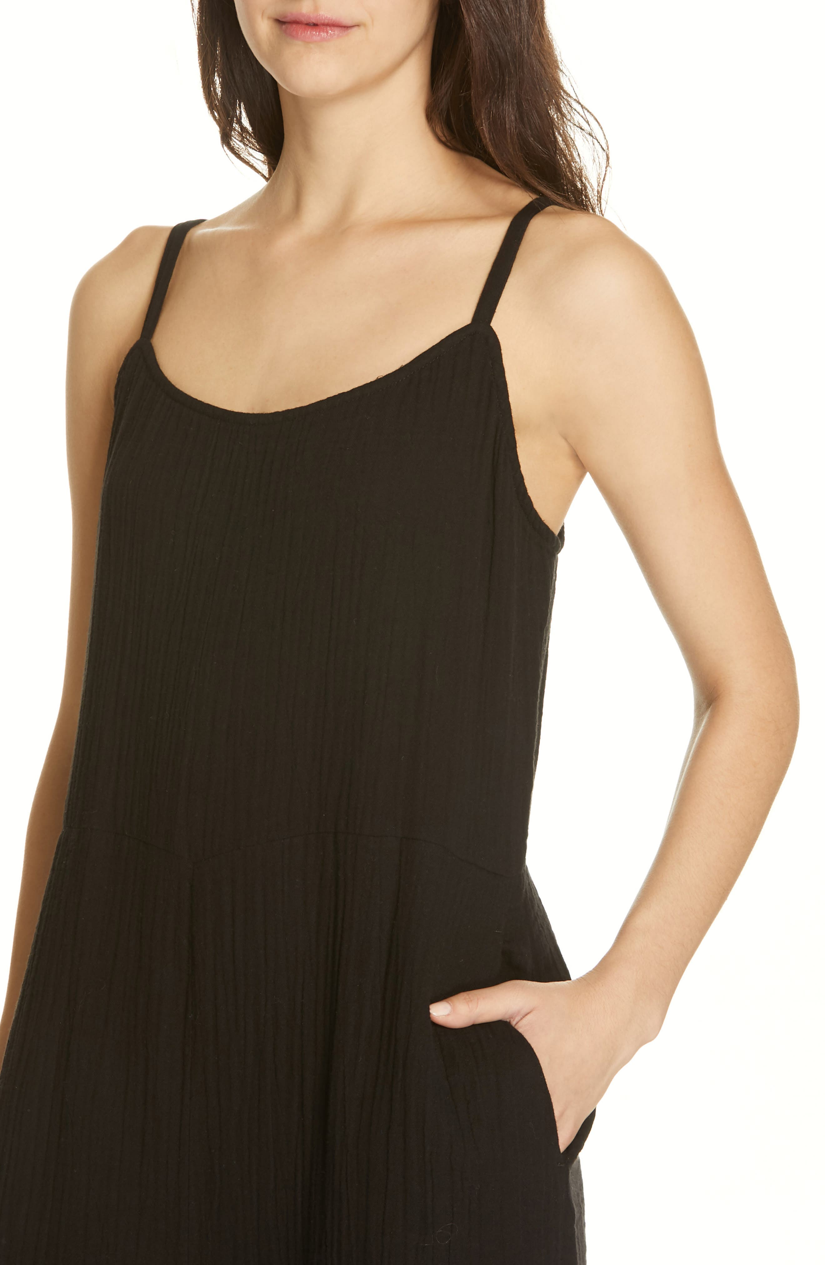 EILEEN FISHER, Camisole Jumpsuit, Alternate thumbnail 5, color, 001