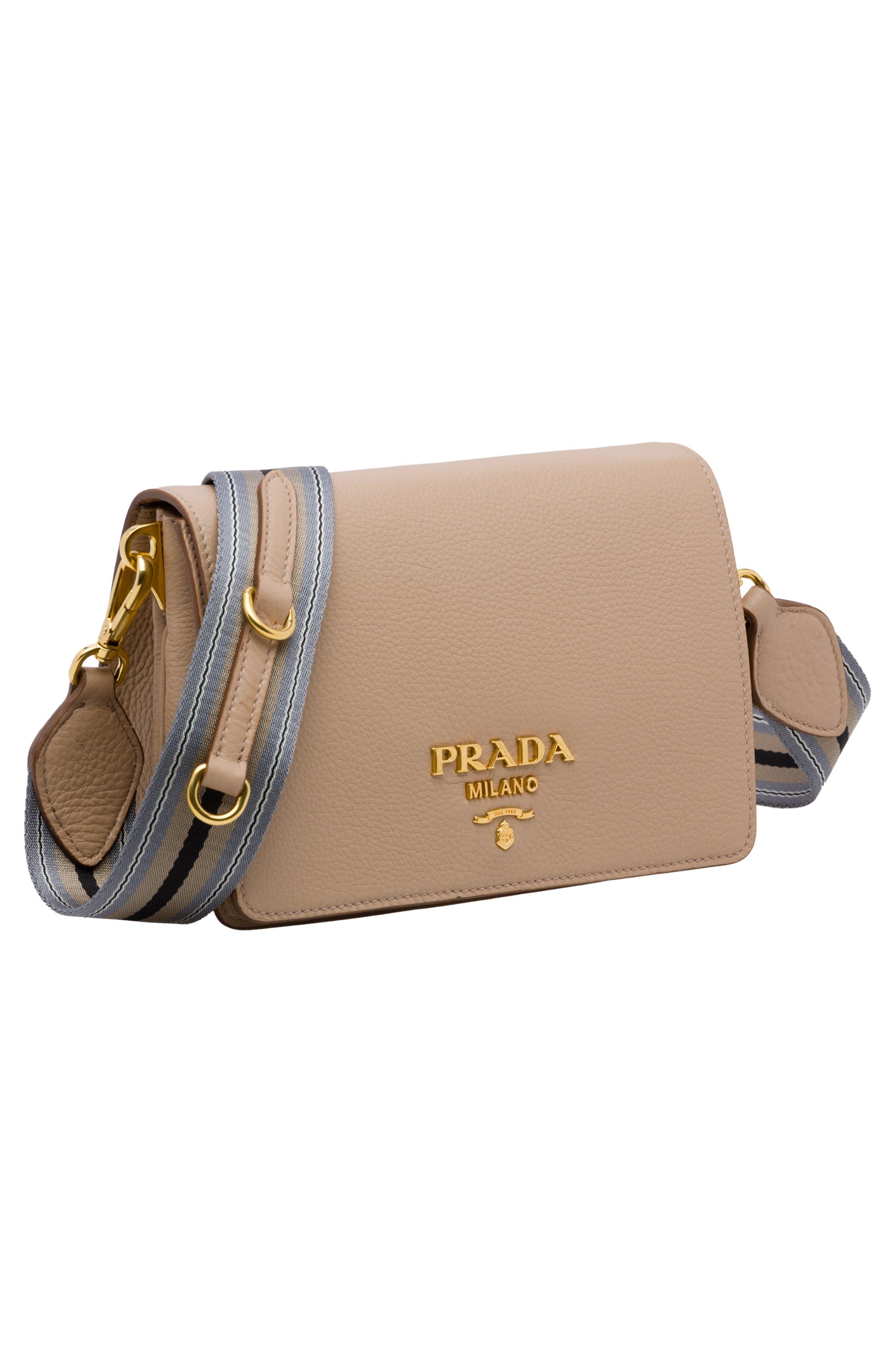 PRADA, Vitello Daino Double Compartment Leather Shoulder Bag, Alternate thumbnail 5, color, CAMMEO