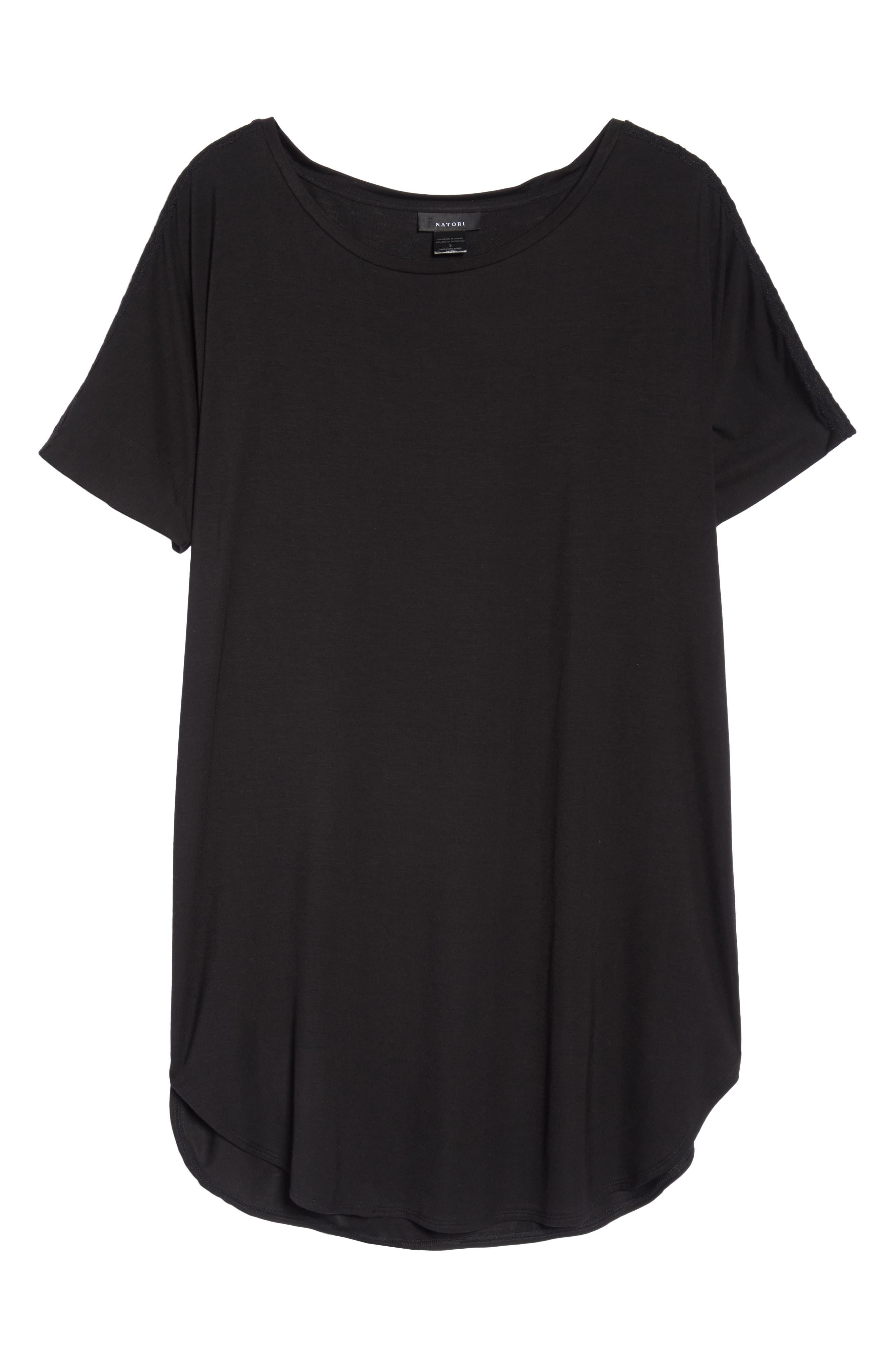 NATORI, Feathers Essential Sleep Shirt, Alternate thumbnail 6, color, BLACK