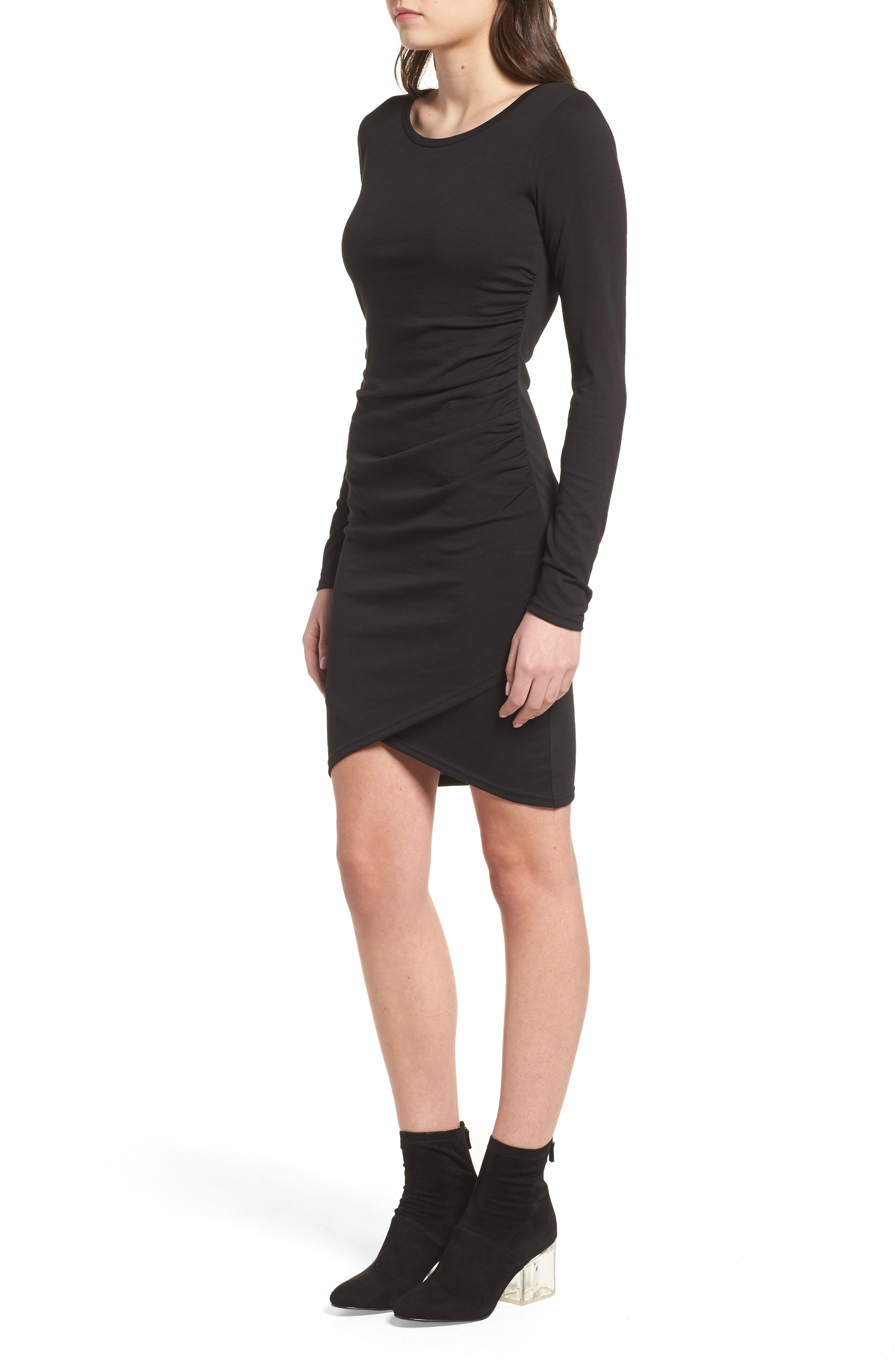 LEITH, Ruched Long Sleeve Dress, Alternate thumbnail 3, color, 001