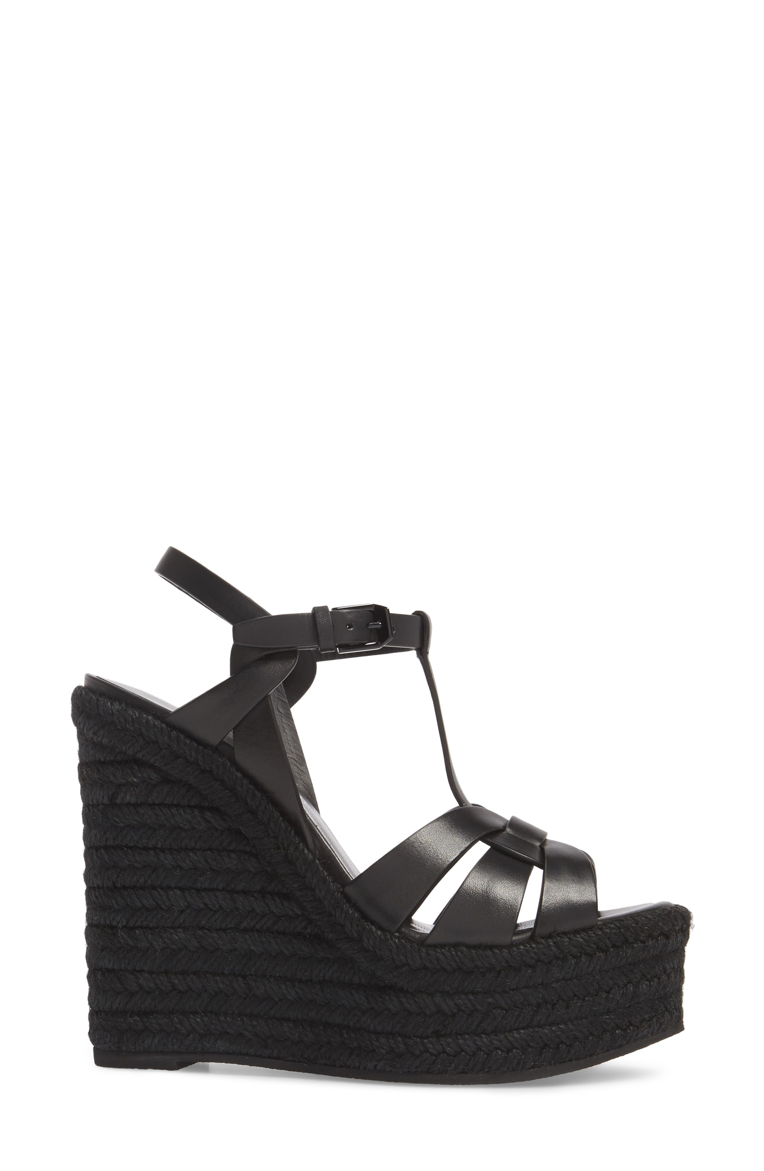 SAINT LAURENT, Tribute Espadrille Wedge, Alternate thumbnail 3, color, BLACK