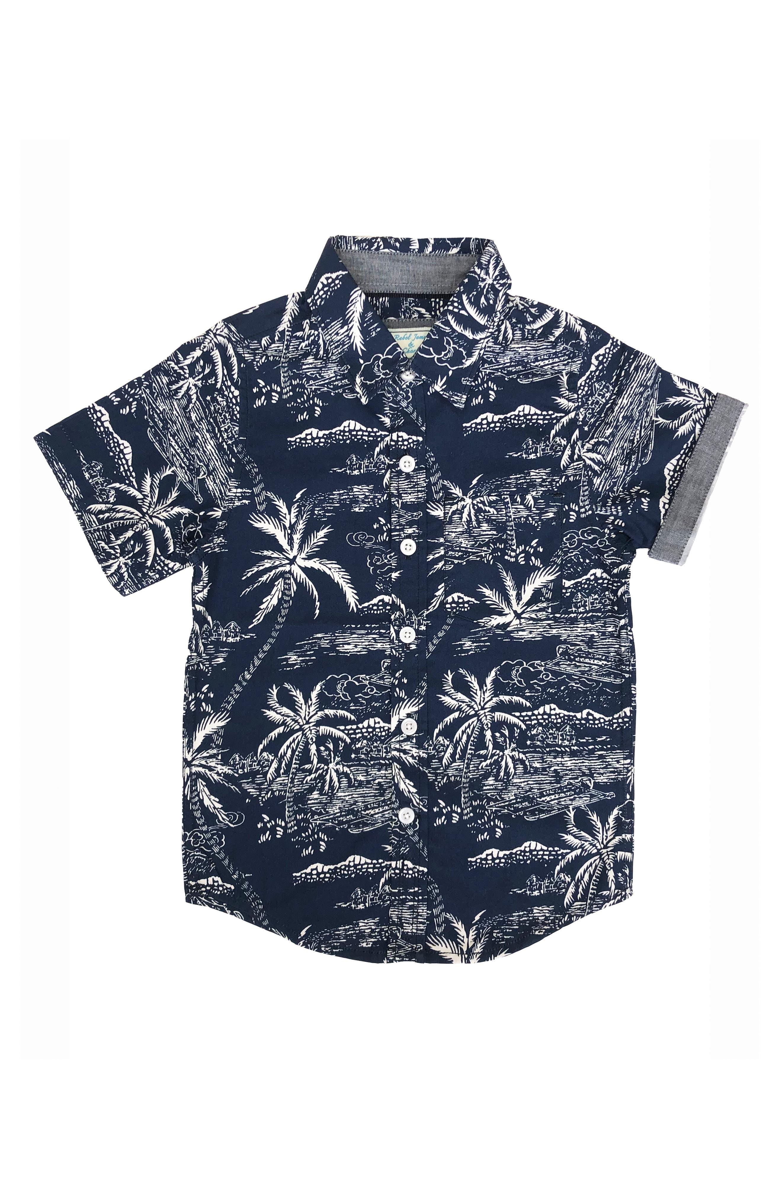REBEL JAMES & CHARLI Island Print Shirt, Main, color, NAVY