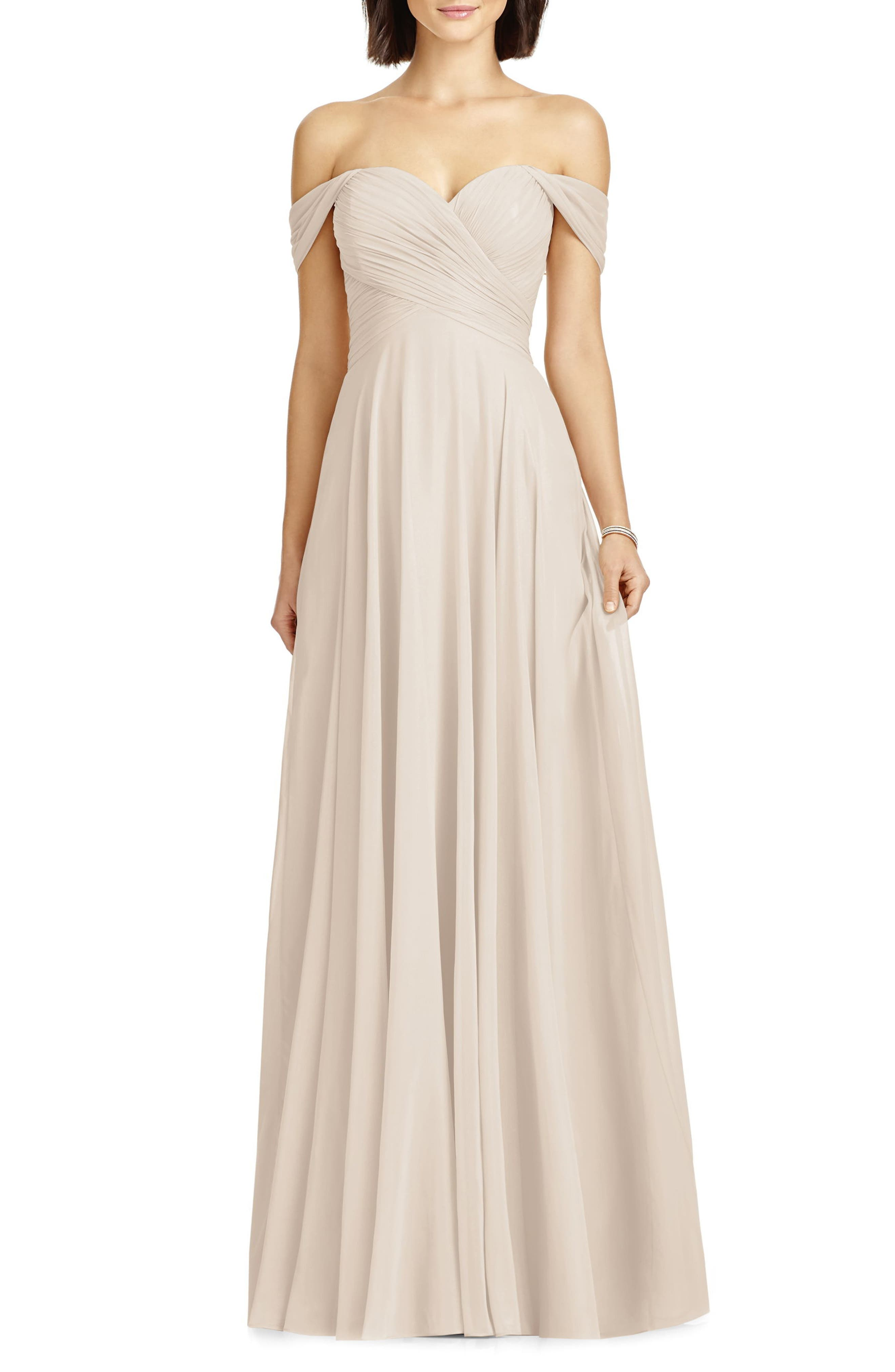 Dessy Collection Lux Ruched Off The Shoulder Chiffon Gown, Beige