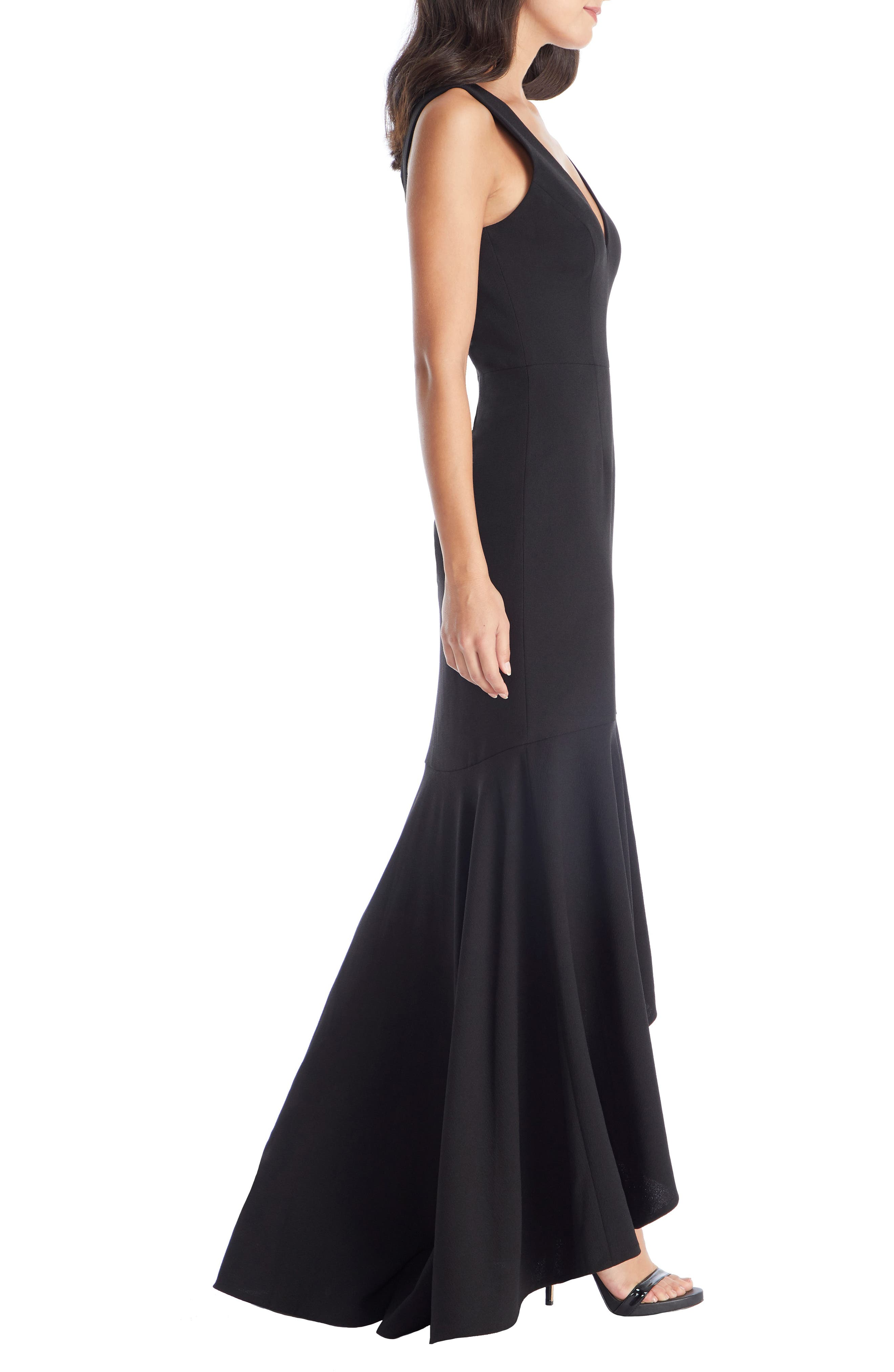 DRESS THE POPULATION, Demi High/Low Mermaid Hem Evening Dress, Alternate thumbnail 3, color, BLACK