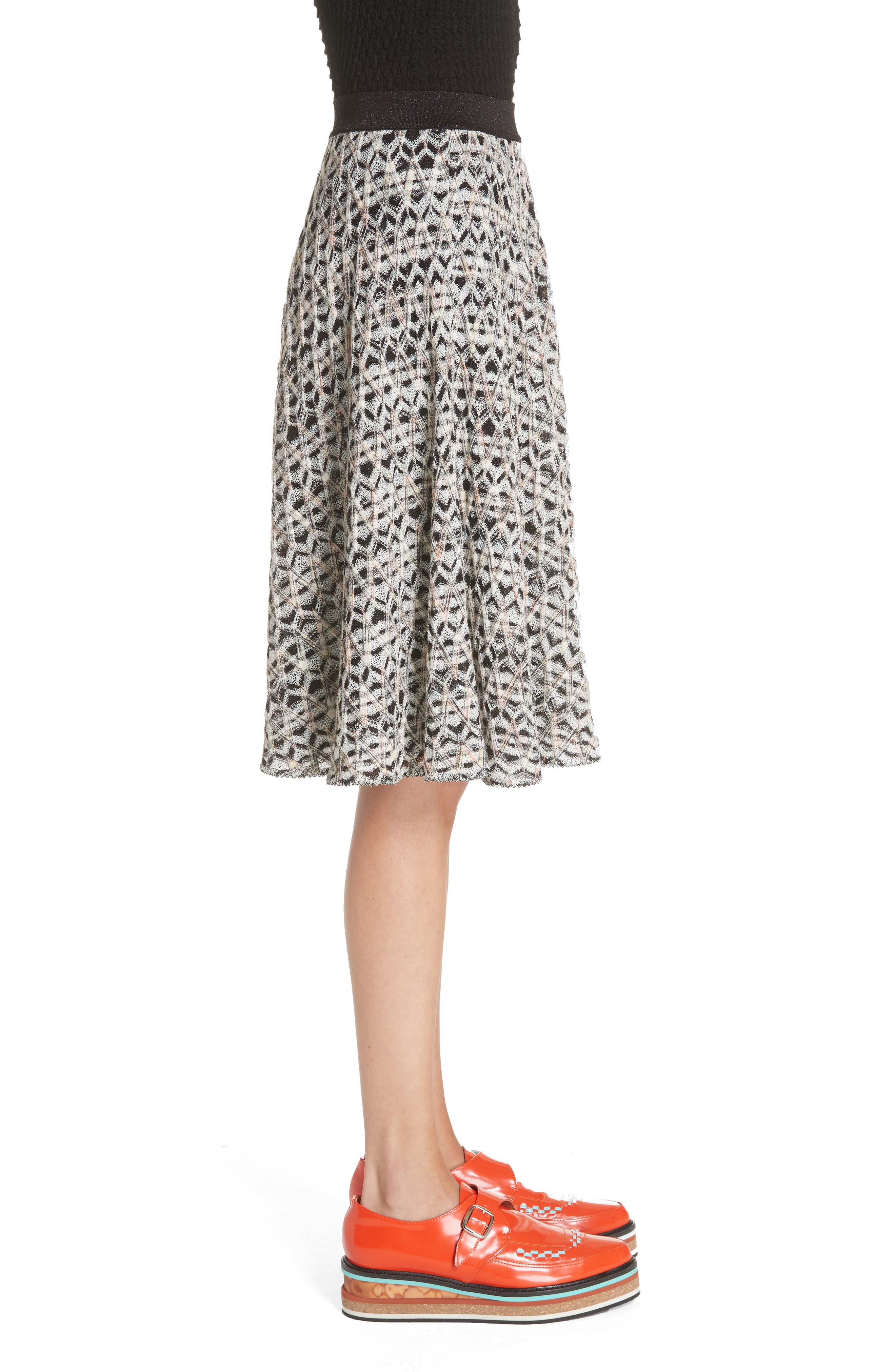 MISSONI, Zig Zag A-Line Skirt, Alternate thumbnail 3, color, MULTI